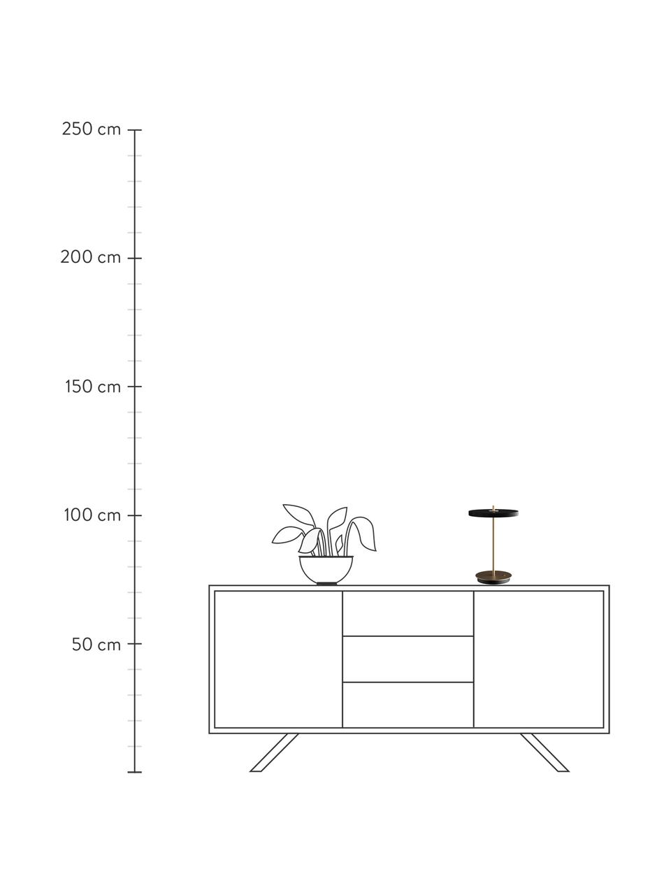 Kleine Mobile Dimmbare LED-Tischlampe Asteria, Lampenschirm: Aluminium, beschichtet, Lampenfuß: Stahl, beschichtet, Schwarz, Ø 20 x H 31 cm