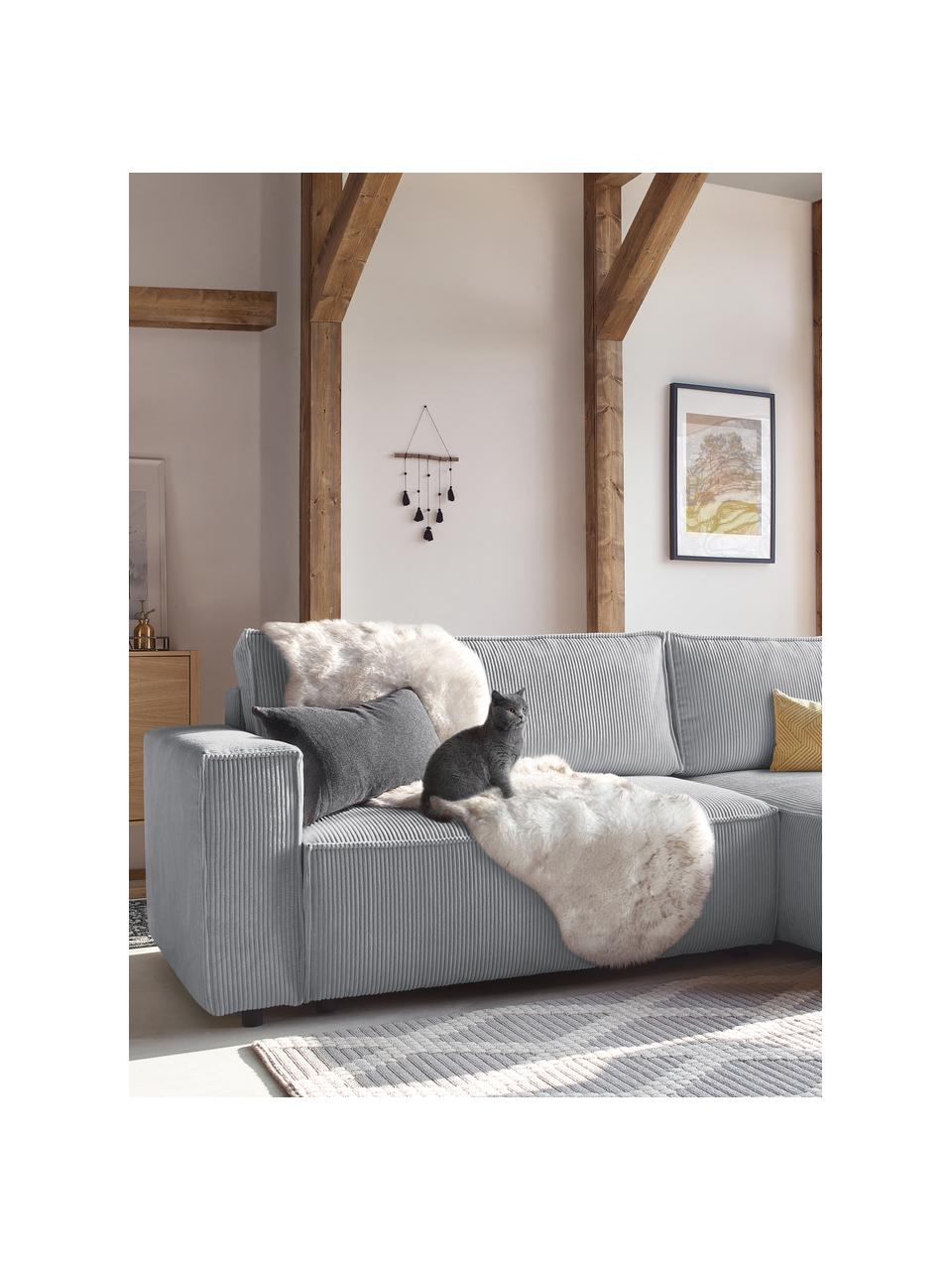 Sofa narożna ze sztruksu z funkcją spania i miejscem do przechowywania Nihad, Tapicerka: poliester, Nogi: tworzywo sztuczne, Jasny szary, S 282 x G 153 cm