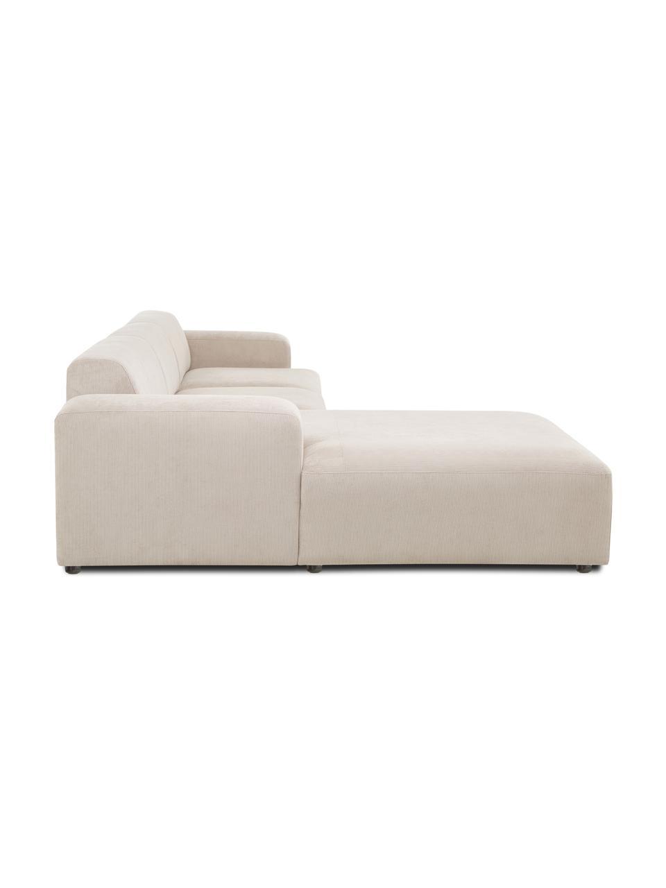 Canapé d'angle 4 places velours côtelé beige Melva, Velours côtelé beige