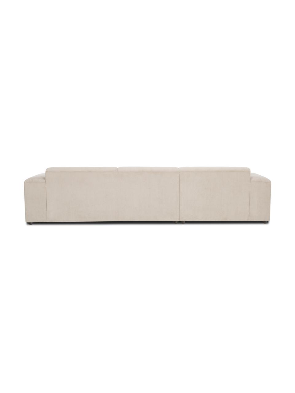 Ribfluwelen hoekbank Melva (4-zits) in beige, Bekleding: corduroy (92% polyester, , Frame: massief grenenhout, FSC-g, Poten: kunststof, Corduroy beige, B 319 x D 196 cm