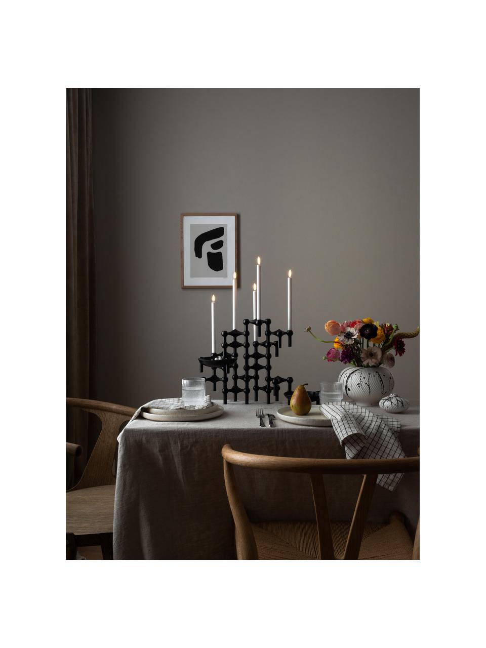 Kerzenhalter Stoff Nagel, 3-er Set, Metall, beschichtet, Schwarz, Ø 10 x H 7 cm