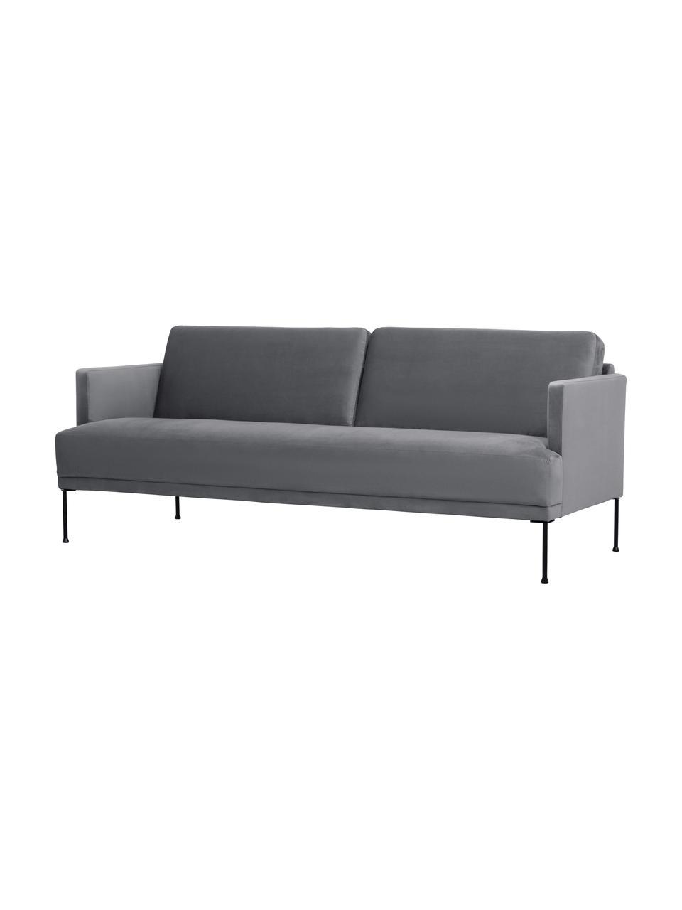 Samt-Sofa Fluente (3-Sitzer) in Dunkelgrau mit Metall-Füßen, Bezug: Samt (Hochwertiger Polyes, Gestell: Massives Kiefernholz, Füße: Metall, pulverbeschichtet, Samt Dunkelgrau, B 196 x T 85 cm
