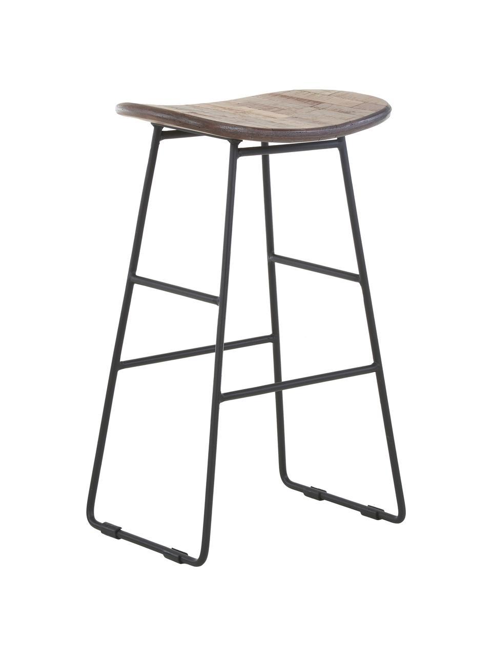 Stołek kontuarowy z drewna tekowego i metalu Tangle, Nogi: metal malowany proszkowo, Brązowy, S 40 x W 65 cm