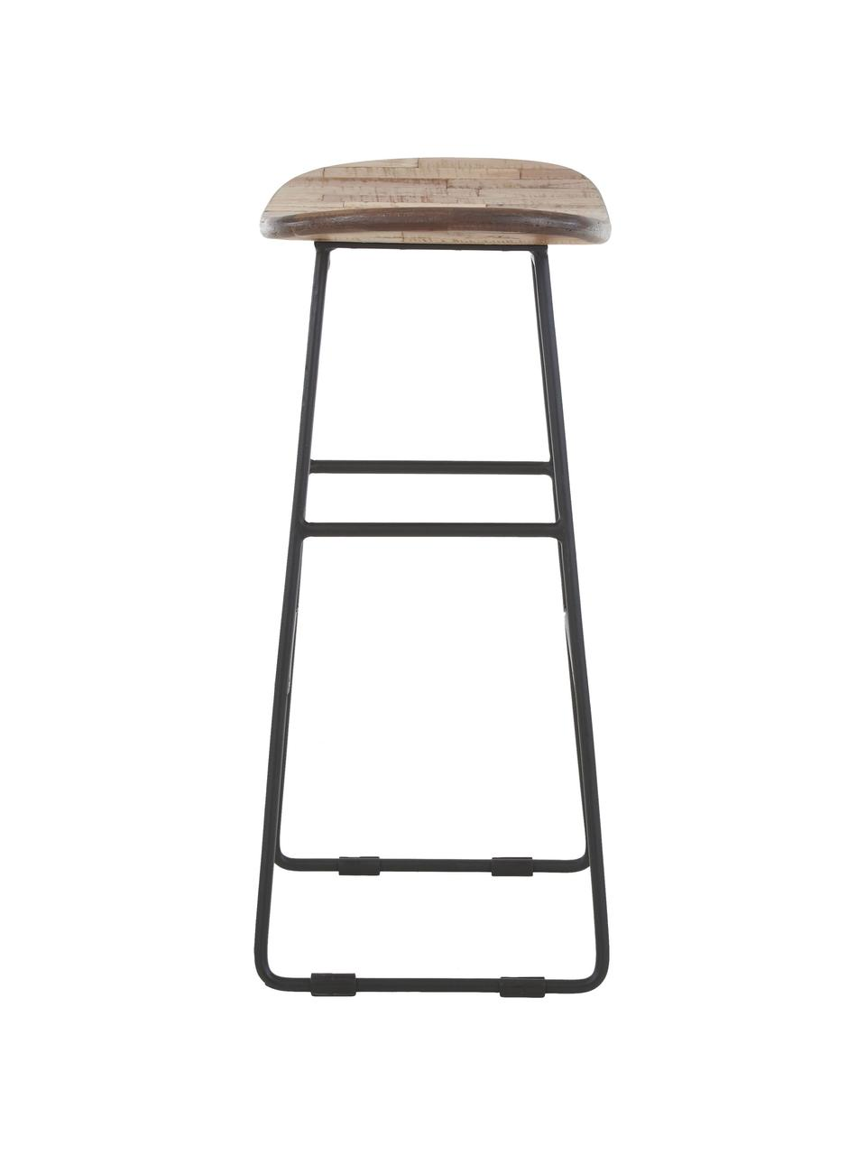 Sedia da bar in teak e metallo Tangle, Seduta: legno di teak riciclato, Gambe: metallo verniciato a polv, Marrone, Larg. 40 x Alt. 65 cm