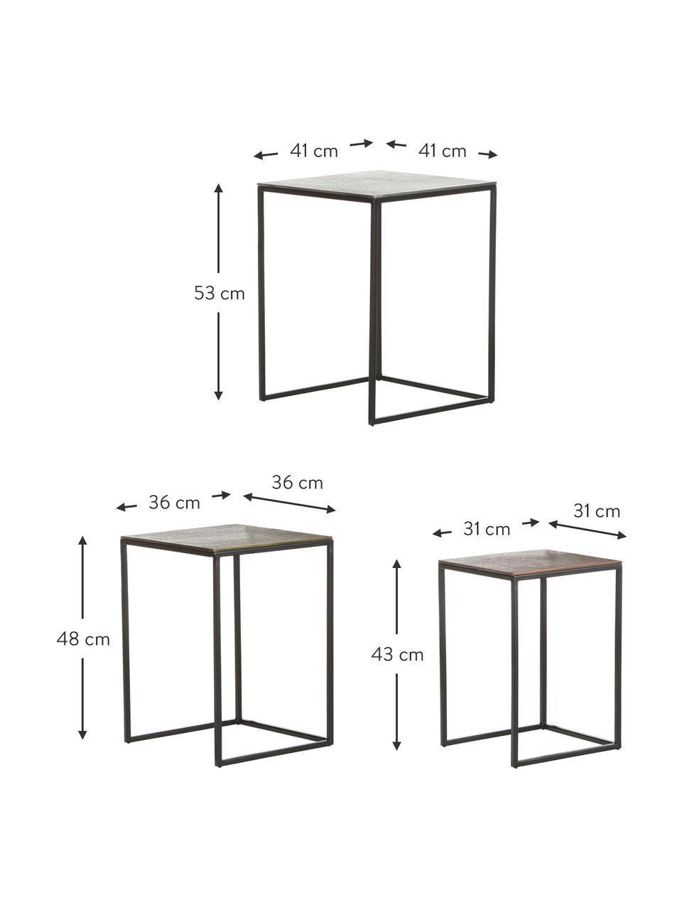 Metalen bijzettafelset Dwayne, 3-delig, Tafelblad: gecoat aluminium, Frame: gelakt metaal, Zilverkleurig, messing, Set met verschillende formaten