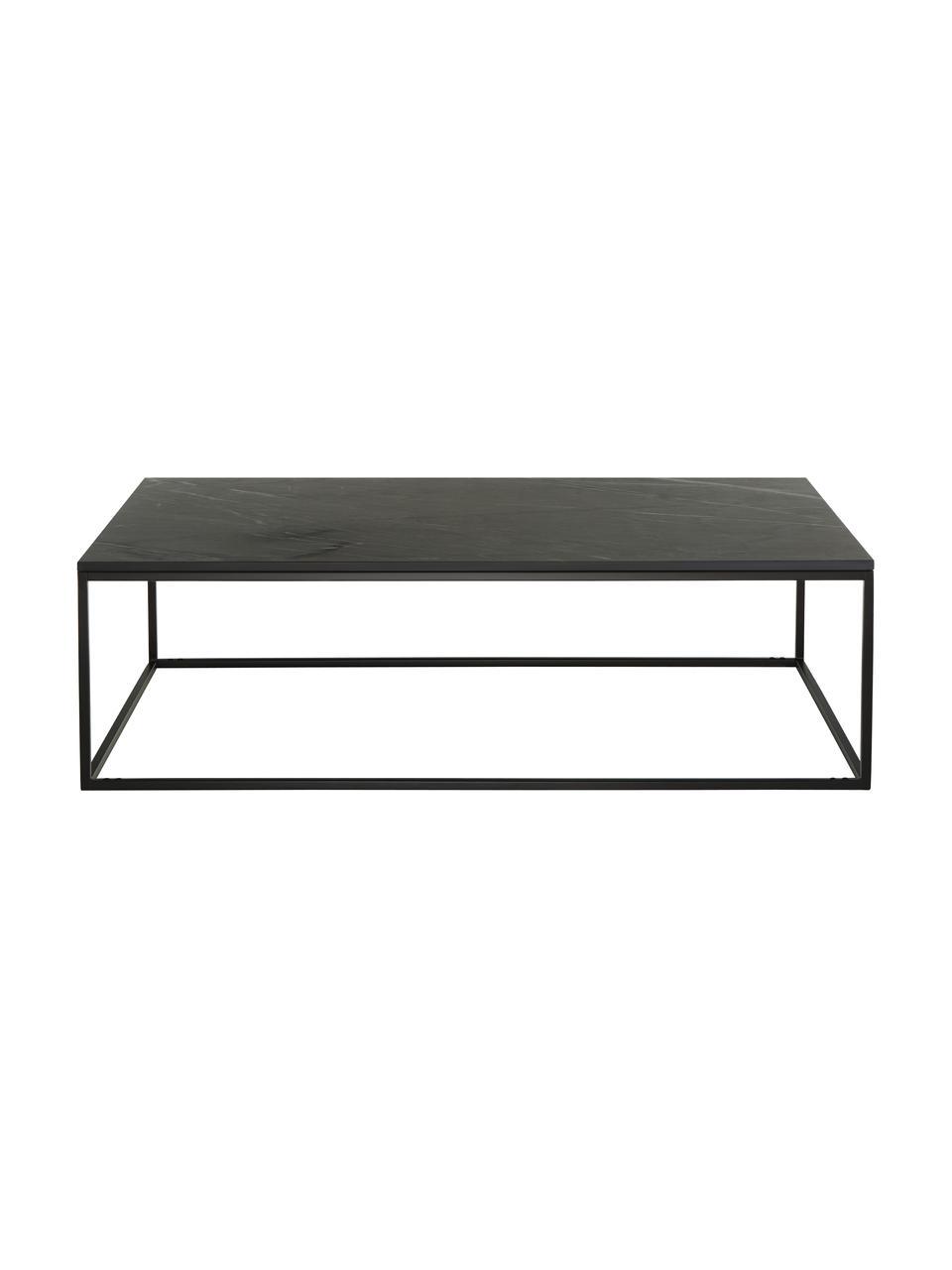 Großer Marmor-Couchtisch Alys, Tischplatte: Marmor, Gestell: Metall, pulverbeschichtet, Schwarzer Marmor, Schwarz, 120 x 35 cm