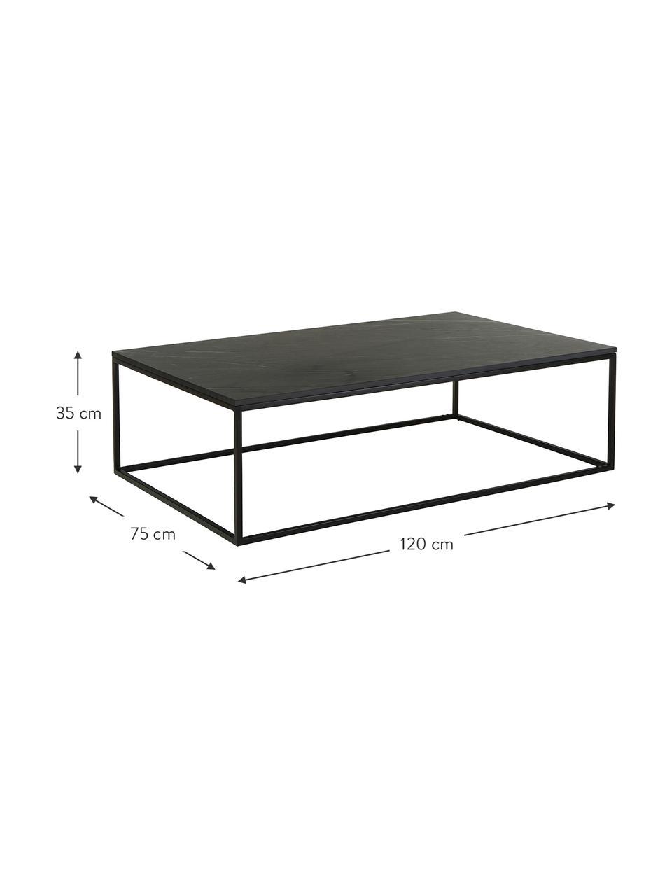Tavolino da salotto con piano in marmo Alys, Piano d'appoggio: marmo, Struttura: metallo verniciato a polv, Nero, Larg. 120 x Alt. 35 cm