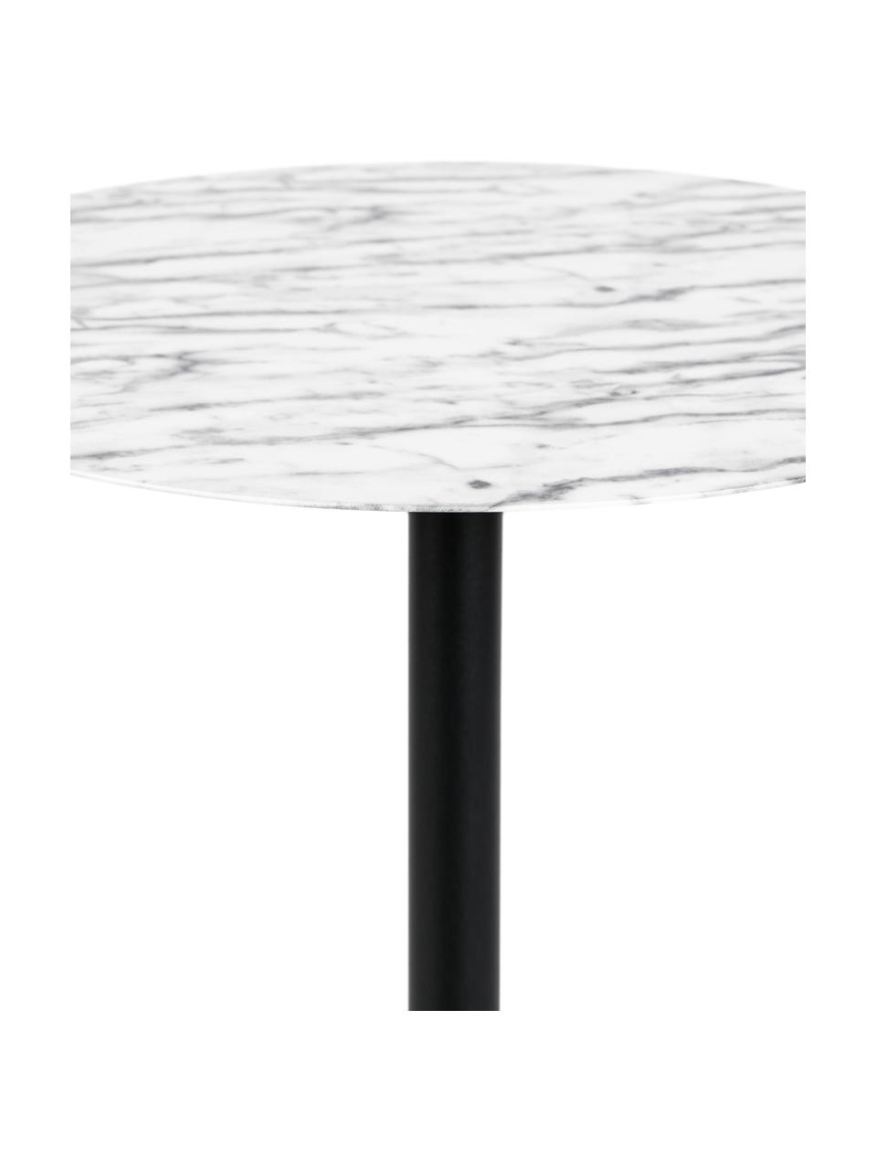 Okrągły stół bistro z metalu Snow, Blat: metal foliowany, Stelaż: metal malowany proszkowo, Czarny, biały, Ø 57 x W 75 cm