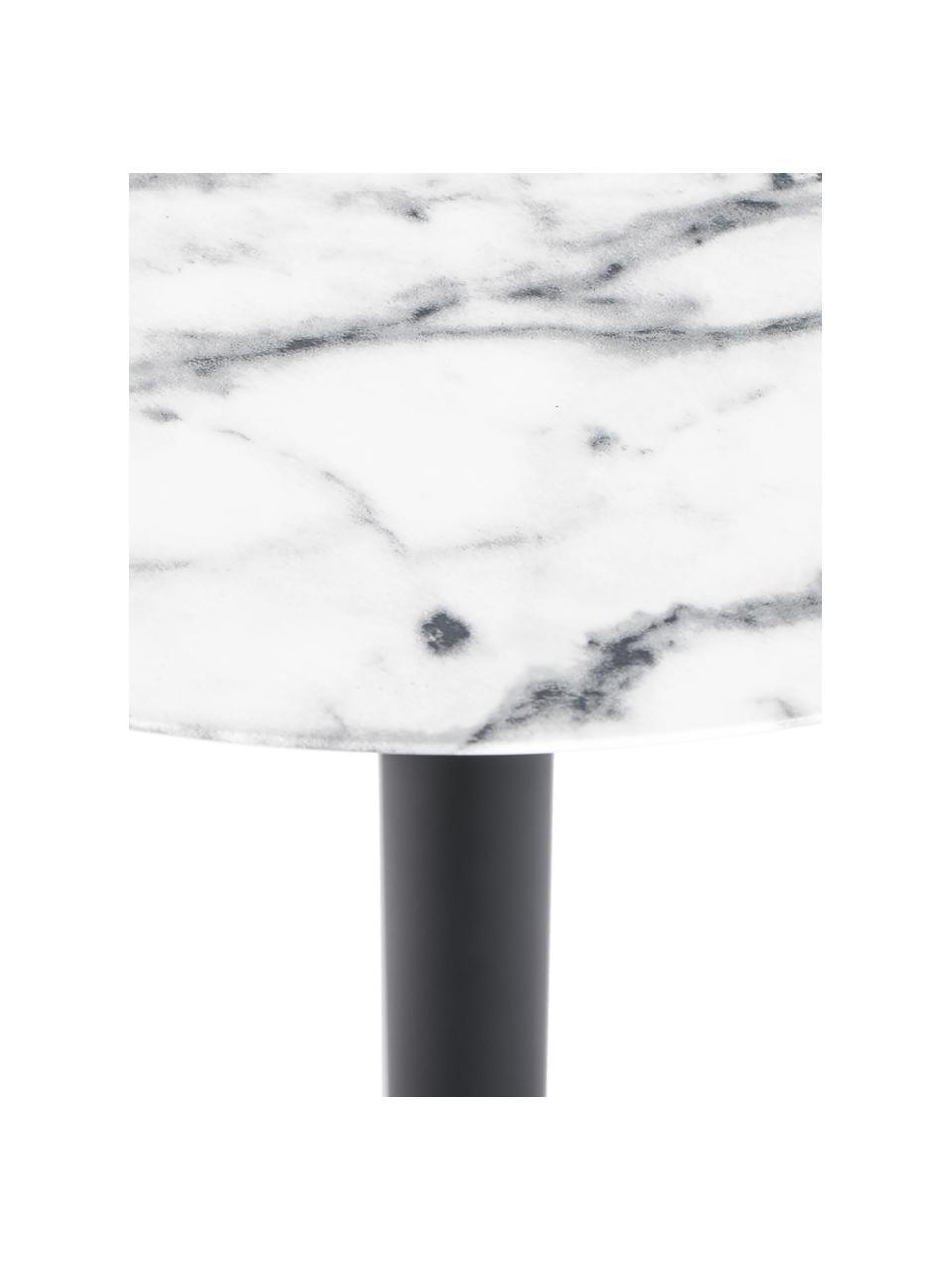 Okrągły stół bistro z imitacją marmuru Snow, Blat: metal foliowany, Stelaż: metal malowany proszkowo, Biały z imitacją marmuru, Ø 57 x W 75 cm
