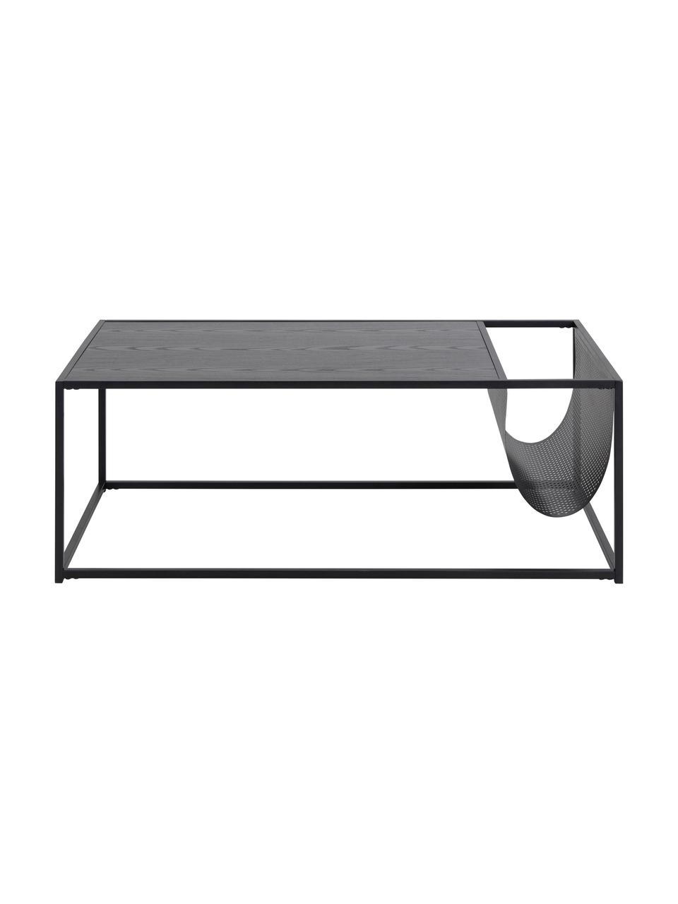 Couchtisch Seaford mit Zeitungshalterung, Tischplatte: Mitteldichte Holzfaserpla, Gestell: Metall, pulverbeschichtet, Schwarz, 110 x 40 cm