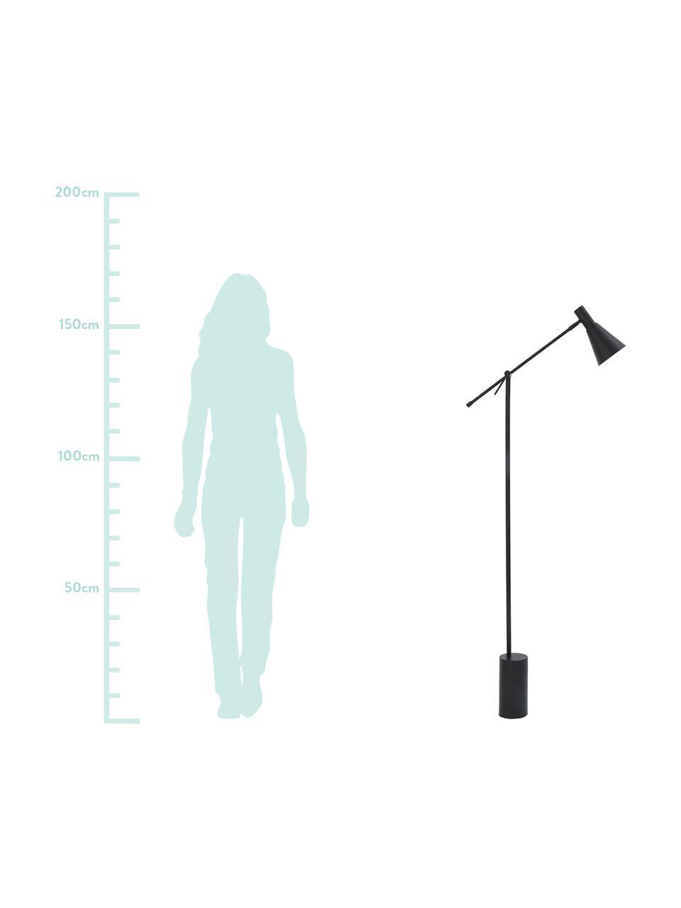 Retro-Leselampe Sia in Schwarz, Lampenschirm: Metall, pulverbeschichtet, Lampenfuß: Metall, pulverbeschichtet, Schwarz, Ø 14 x H 162 cm