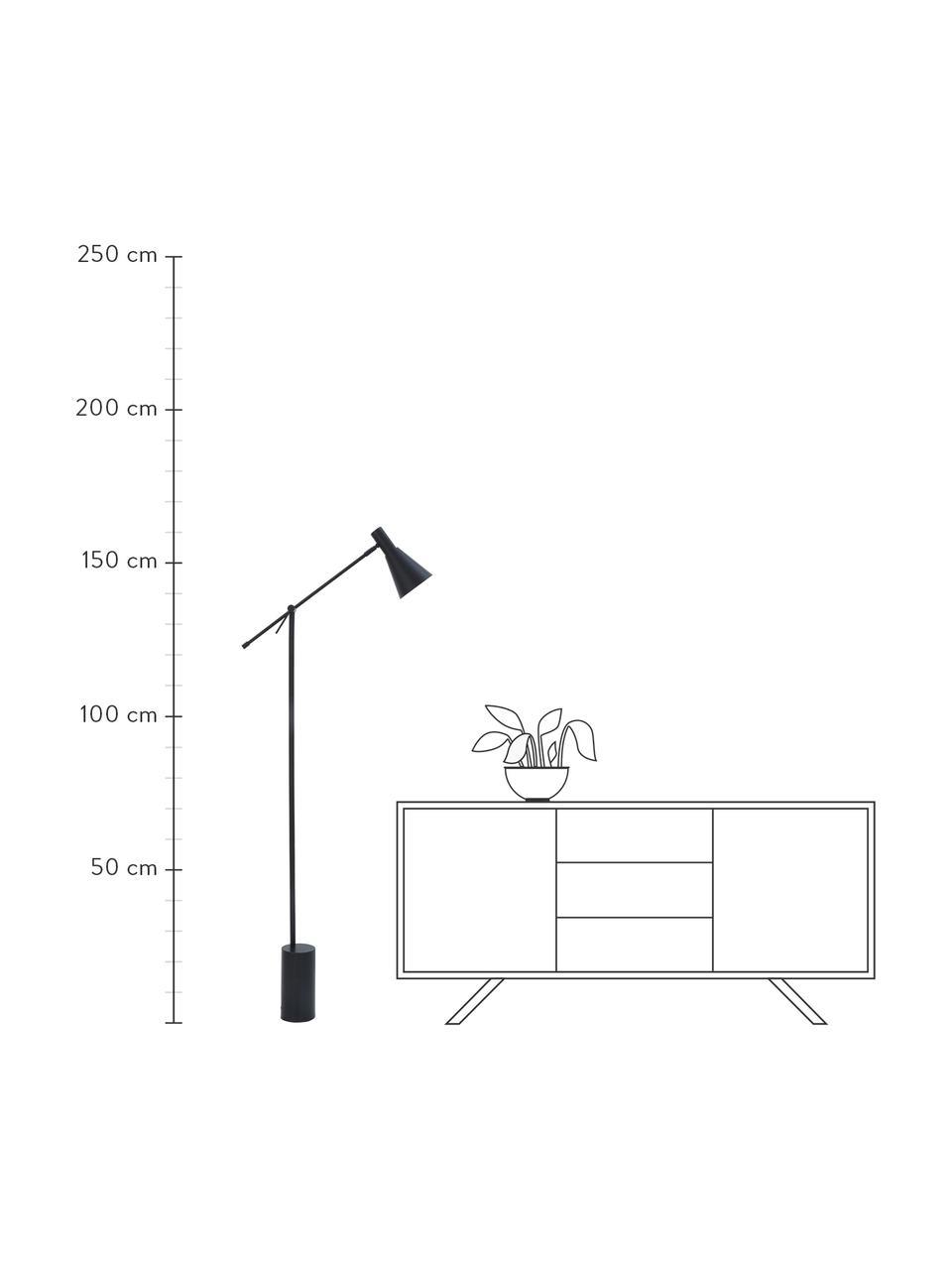 Leeslamp Sia in zwart, Lampenkap: gepoedercoat metaal, Lampvoet: gepoedercoat metaal, Zwart, D 60 x H 162 cm