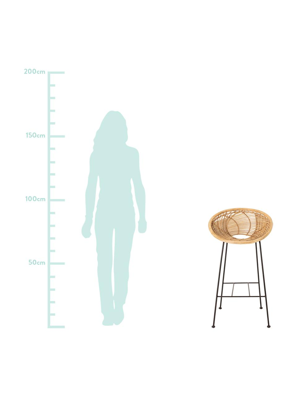 Rattan-Barstuhl Yonne, Sitzfläche: Rattan, Gestell: Metall, beschichtet, Rattan, Schwarz, 52 x 94 cm