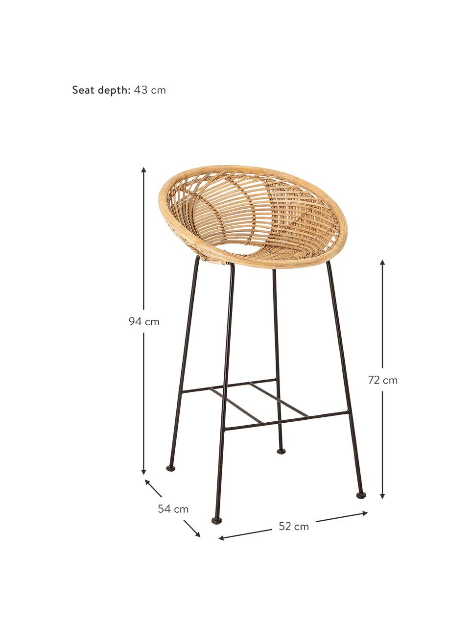 Rattan-Barstuhl Yonne mit Metall-Beinen, Sitzfläche: Rattan, Gestell: Metall, beschichtet, Rattan, Schwarz, 52 x 94 cm