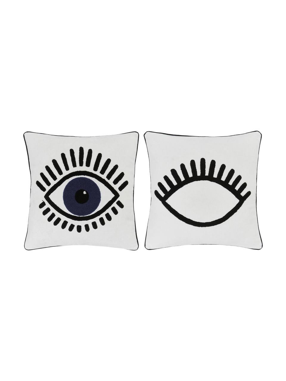 Kissenhülle Charms mit Augenmotiv, 2 Stück, 100% Baumwolle, Weiß, Schwarz, Blau, 45 x 45 cm