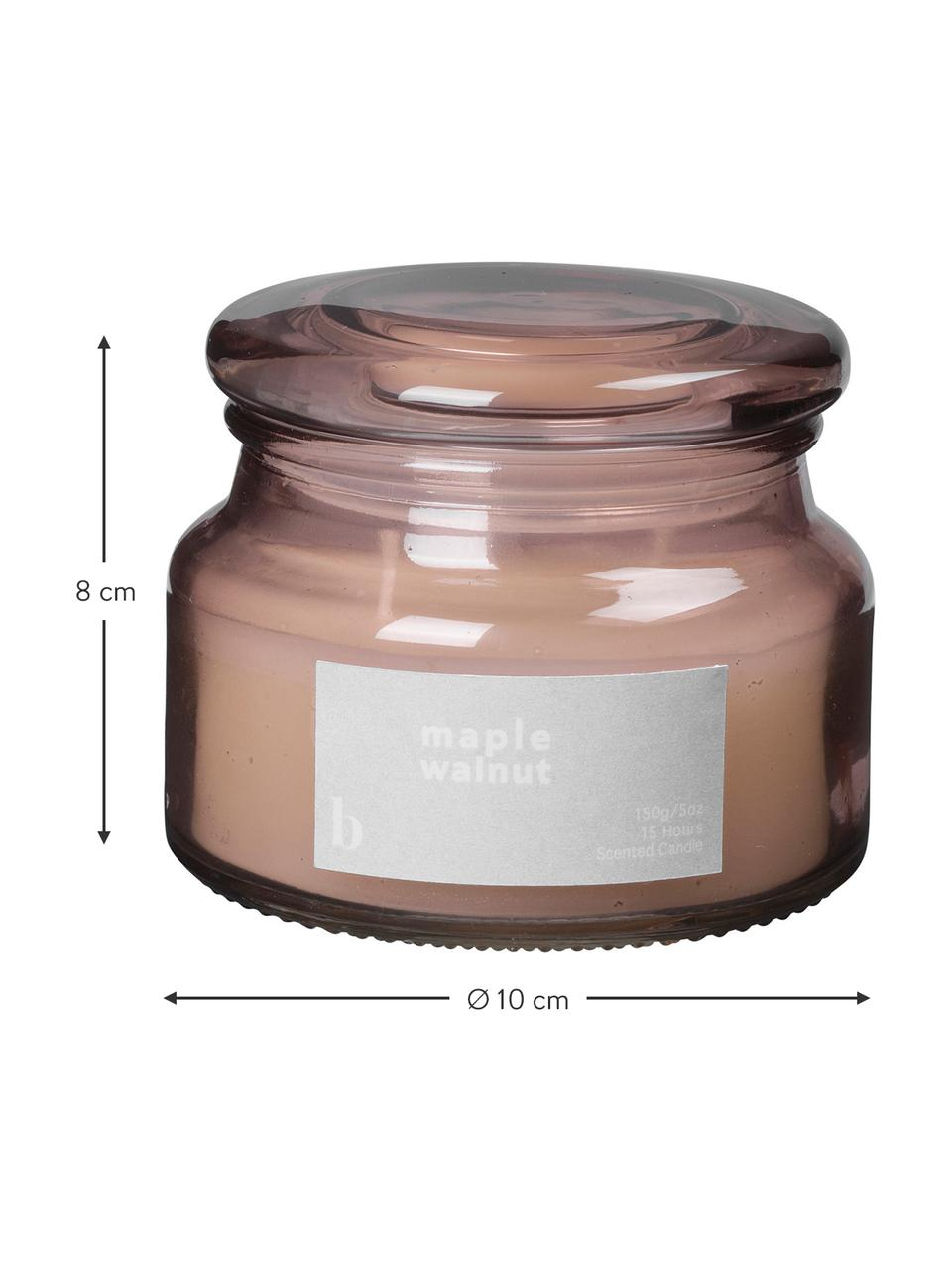 Duftkerze Maple Walnut (Walnuss), Behälter: Glas, Altrosa, Ø 10 x H 8 cm
