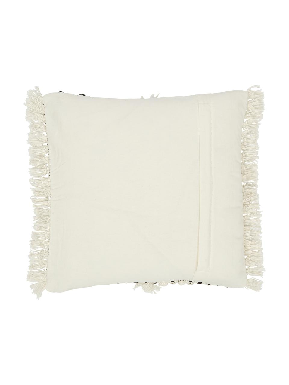 Housse de coussin 45x45 bohème Karen, Beige, blanc