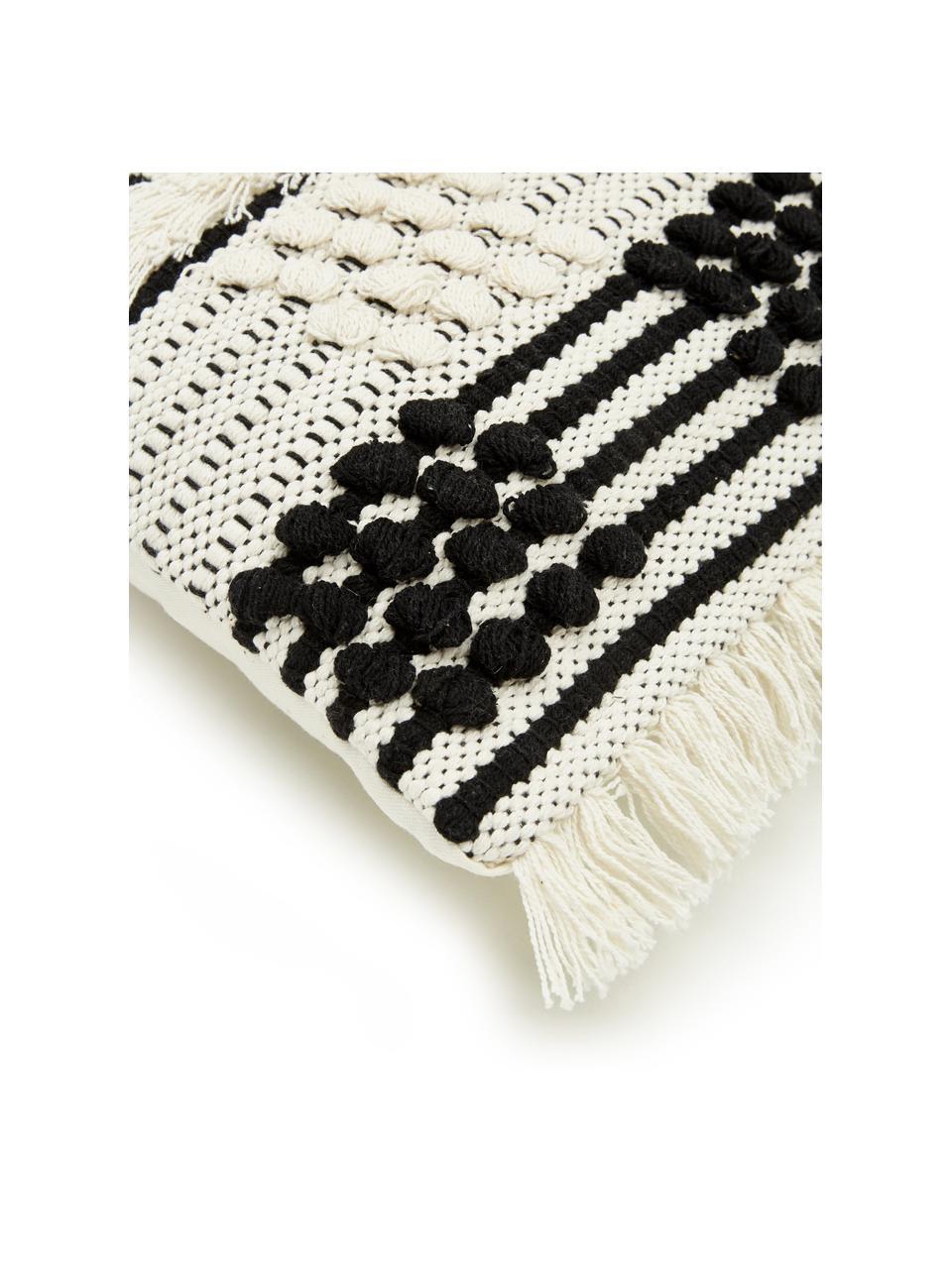 Federa arredo color bianco crema con ornamenti Karen, 100% cotone, Beige, bianco, Larg. 45 x Lung. 45 cm