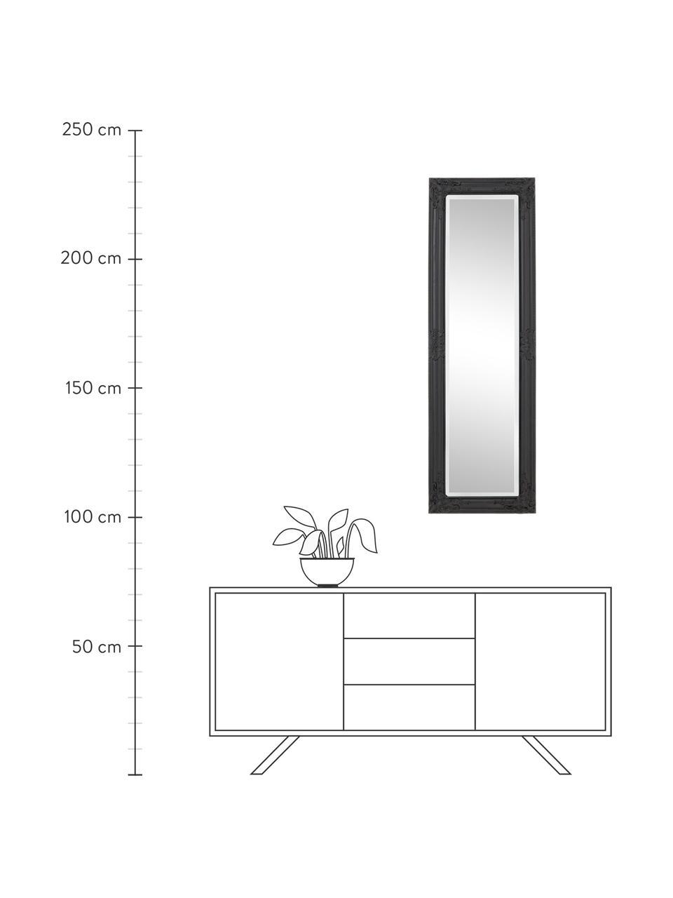 Wandspiegel Miro mit schwarzem Holzrahmen, Rahmen: Holz, beschichtet, Spiegelfläche: Spiegelglas, Schwarz, 42 x 132 cm
