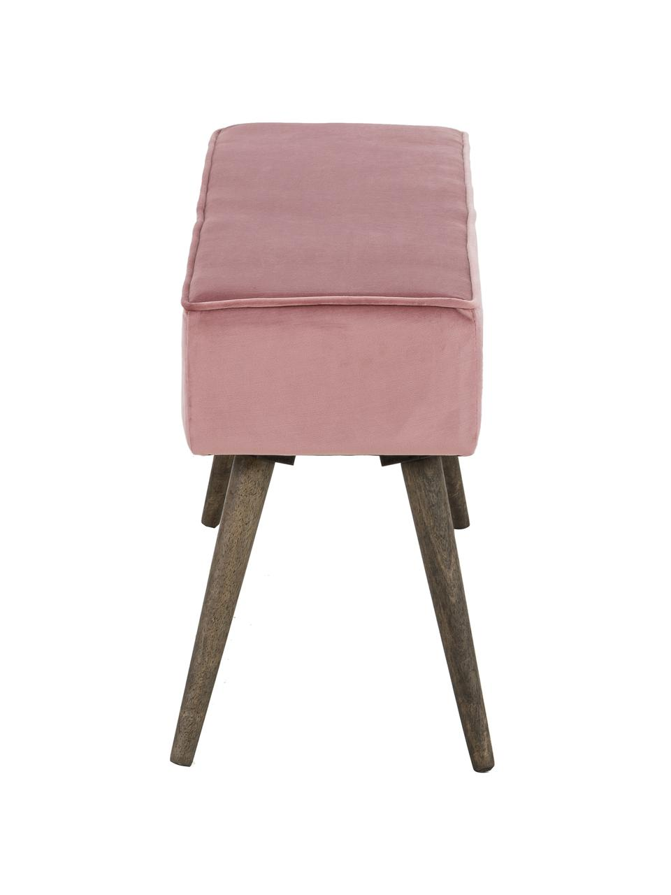 Samt-Polsterbank Popy, Bezug: Polyestersamt Der Bezug w, Beine: Gummibaumholz, klar lacki, Pink, 100 x 50 cm