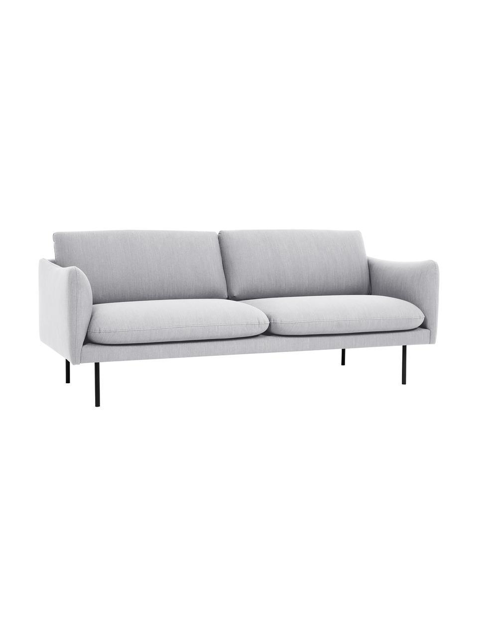 Canapé 2places gris clair Moby, Tissu gris clair