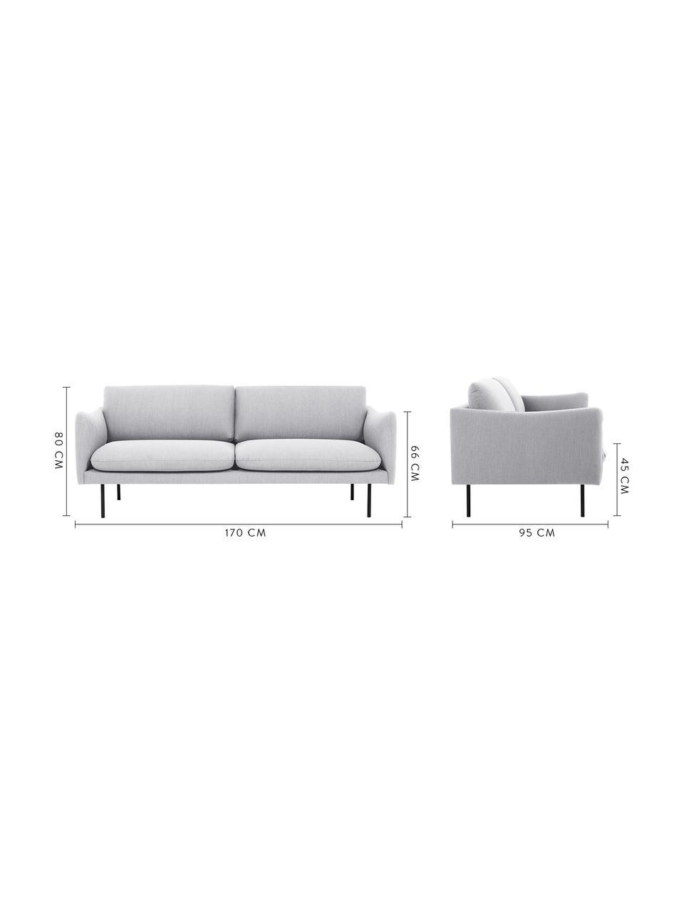 Sofa Moby (2-Sitzer) in Hellgrau mit Metall-Füßen, Bezug: Polyester Der hochwertige, Gestell: Massives Kiefernholz, Füße: Metall, pulverbeschichtet, Webstoff Hellgrau, B 170 x T 95 cm