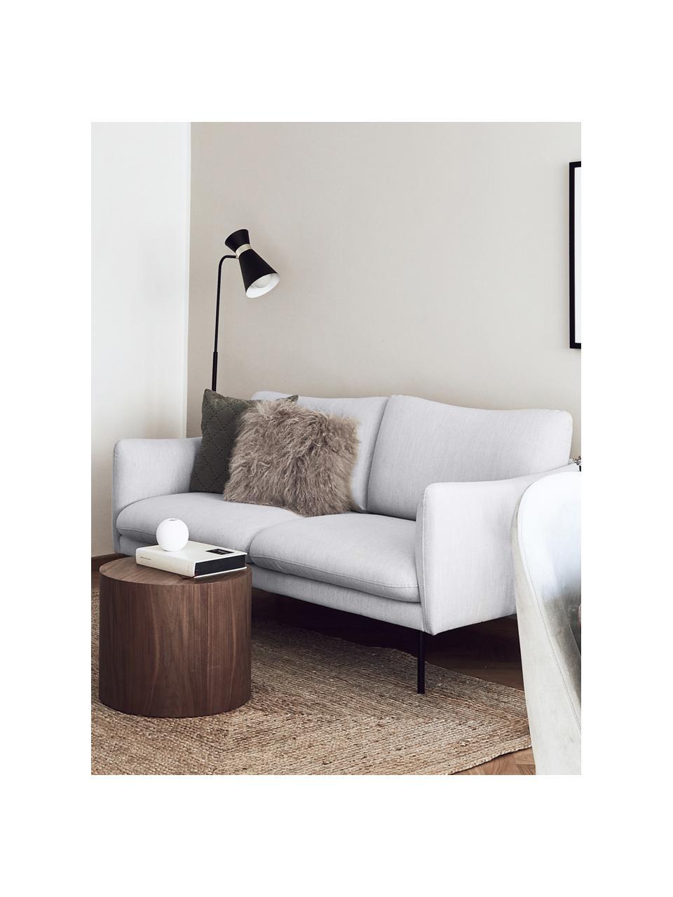 Bank Moby (2-zits) in lichtgrijs met metalen poten, Bekleding: polyester, Frame: massief grenenhout, Poten: gepoedercoat metaal, Lichtgrijs, B 170 x D 95 cm