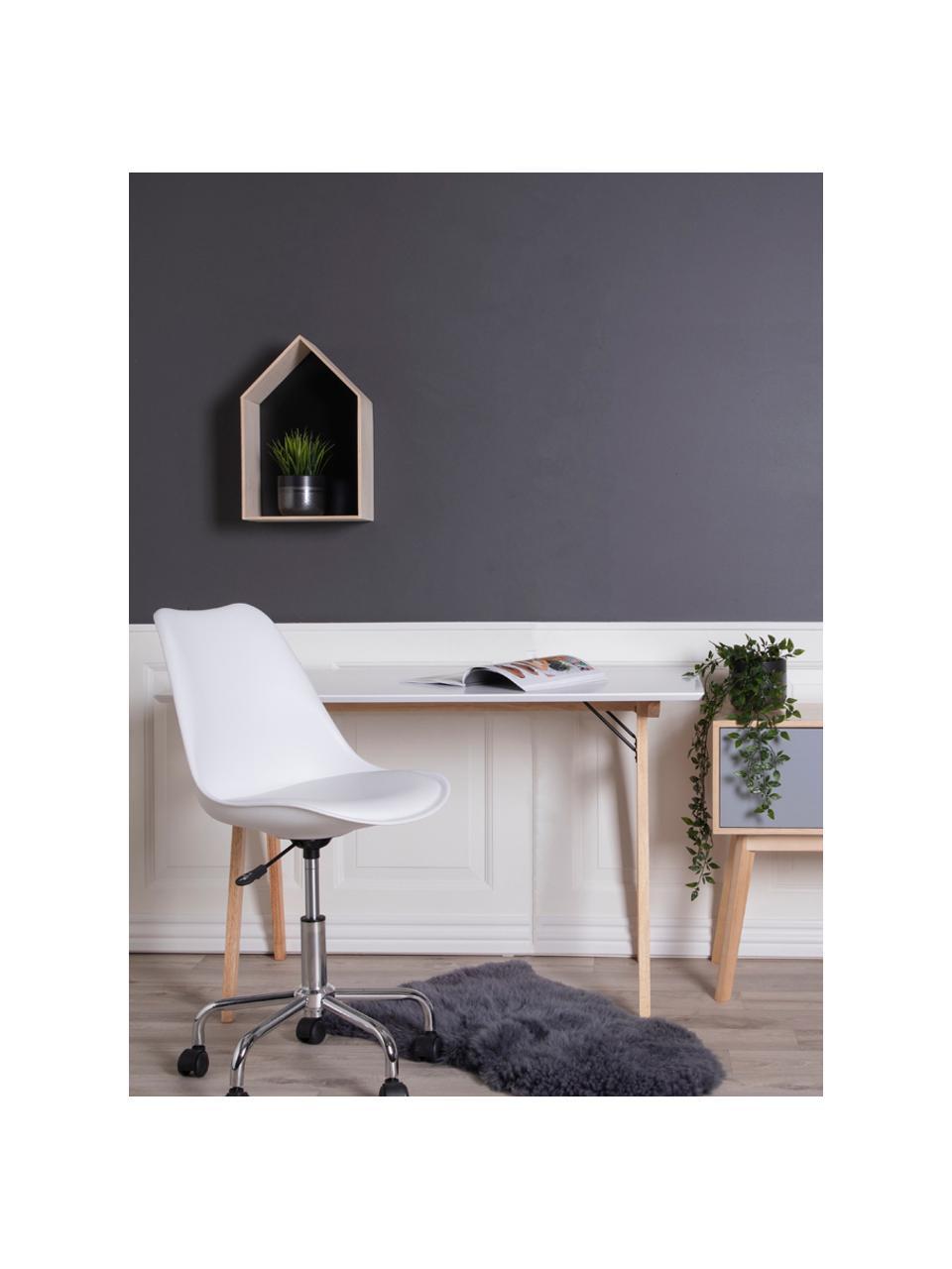 Schreibtisch Vojens mit weißer Tischplatte, Tischplatte: Mitteldichte Holzfaserpla, Beine: Gummibaumholz, Weiß, Braun, B 120 x T 60 cm