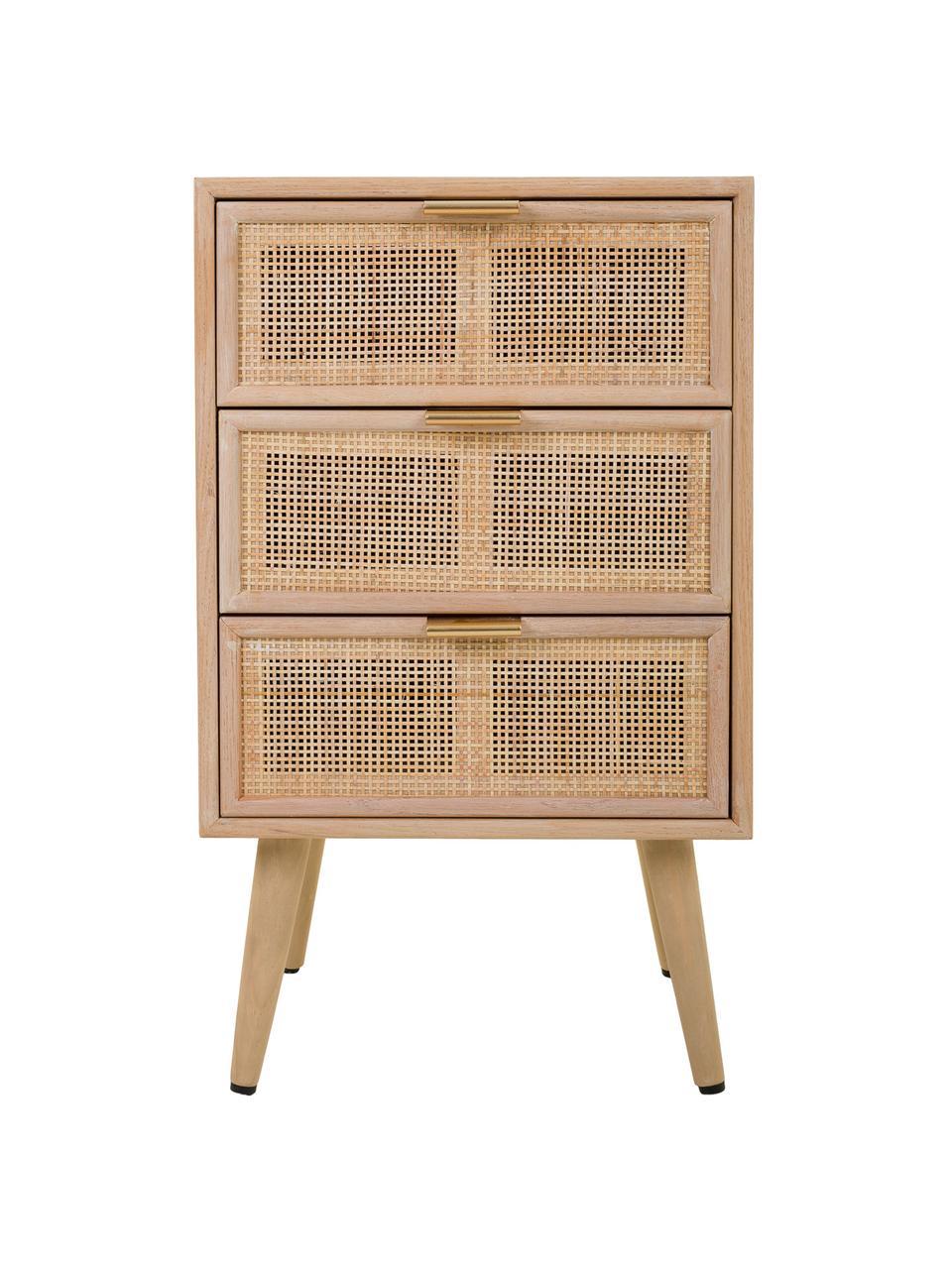 Szafka nocna z drewna Cayetana Shelfy, Korpus: płyta pilśniowa średniej , Nogi: drewno bambusowe, lakiero, Brązowy, S 42 x W 71 cm