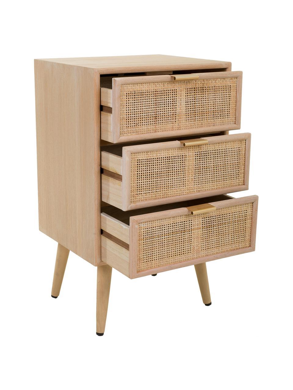 Comodino in legno Cayetana Shelfy, Piedini: legno di bambù verniciato, Marrone, Larg. 42 x Alt. 71 cm
