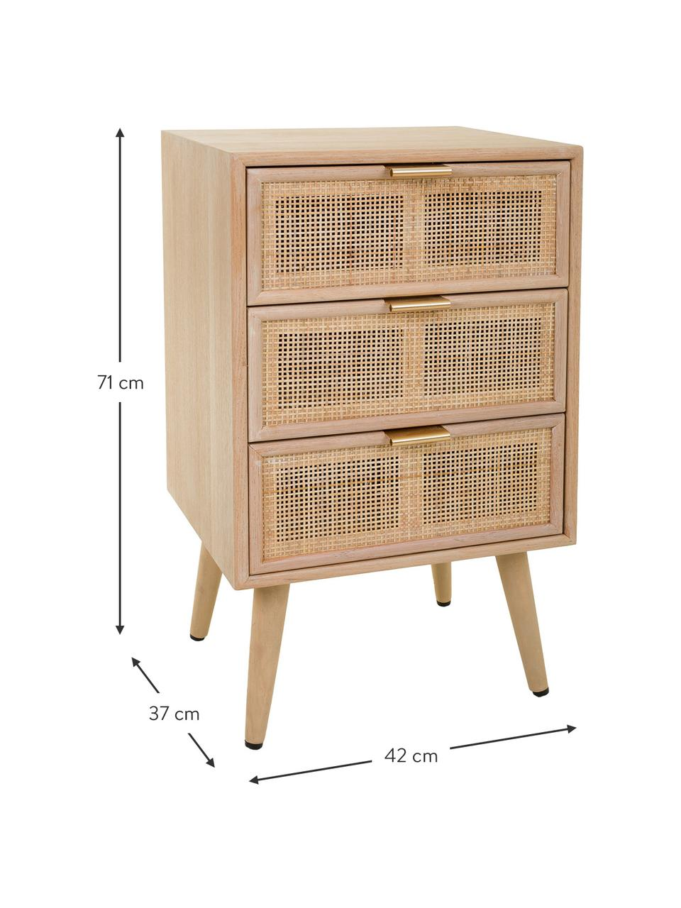Nachtkastje Cayetana Shelfy van hout, Frame: gefineerd MDF, Handvatten: metaal, Poten: gelakt bamboehout, Bruin, 42 x 71 cm