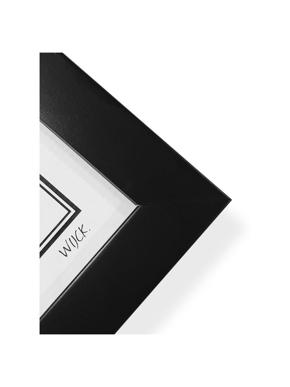 Stampa digitale incorniciata Amsterdam, Immagine: stampa digitale su carta , Cornice: legno verniciato, Immagine: nero, bianco Cornice: nero opaco, Larg. 40 x Alt. 50 cm