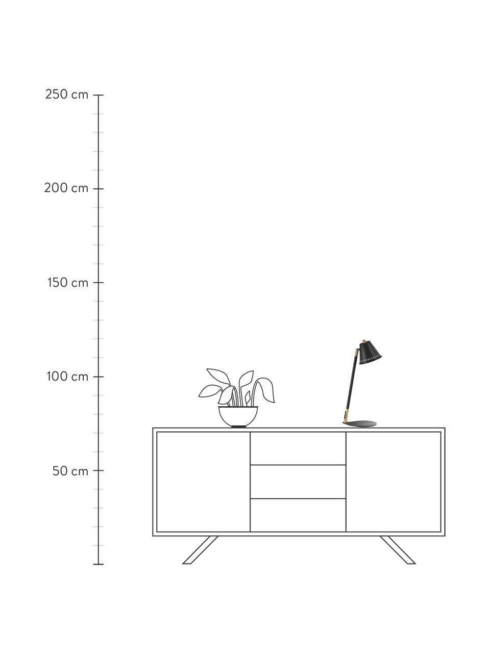 Retro-Schreibtischlampe Pine, Lampenschirm: Metall, Lampenfuß: Metall, Schwarz, Gold, 15 x 47 cm