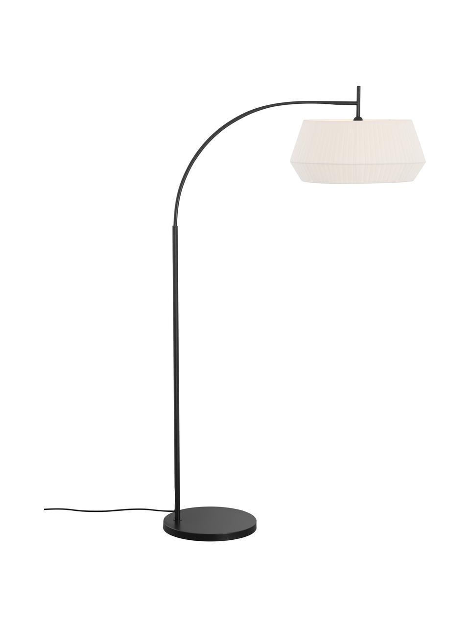 Lampa podłogowa w kształcie łuku z kloszem z plisowanej tkaniny Dicte, Biały, czarny, S 104 x W 180 cm