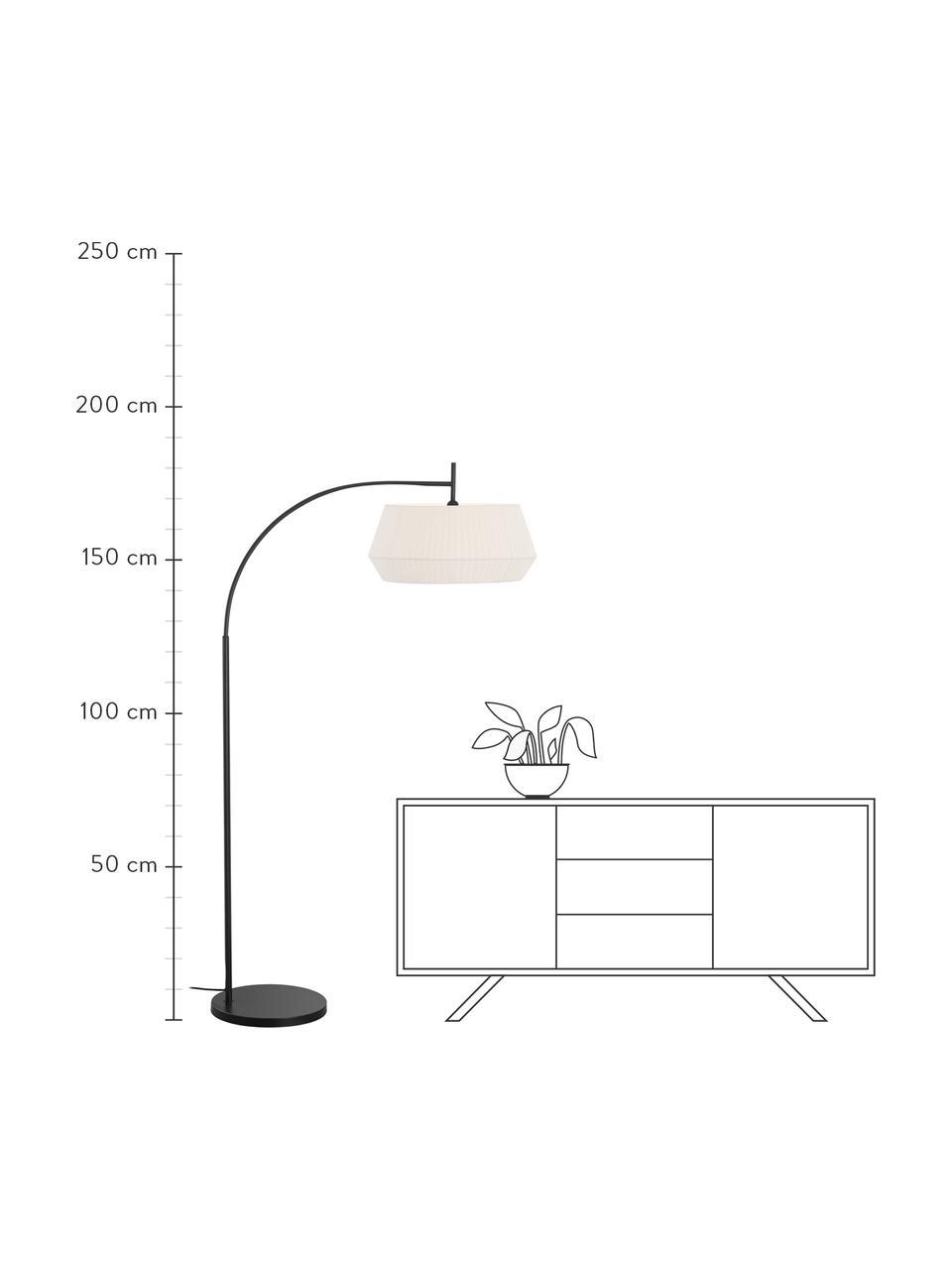 Große Bogenlampe Dicte aus Faltenstoff, Lampenschirm: Stoff, Lampenfuß: Metall, beschichtet, Weiß, Schwarz, 104 x 180 cm
