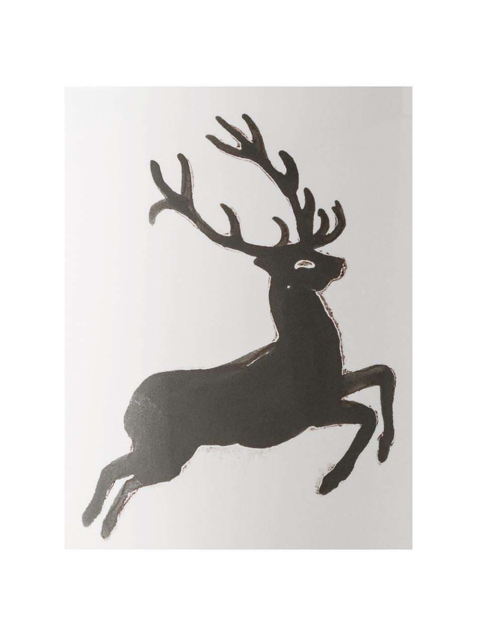 Handbeschilderde melkkan gourmet Grey Deer, 200 ml, Keramiek, Grijs, wit, 200 ml