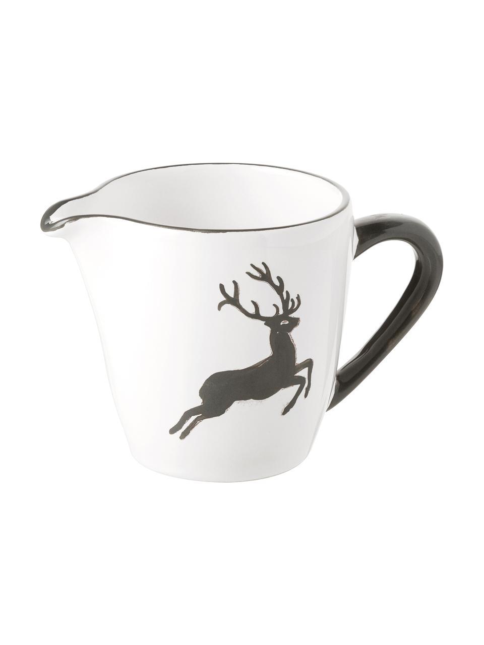 Pot à lait en céramique artisanale Cerf Gris Gourmet, 200ml, Gris, blanc