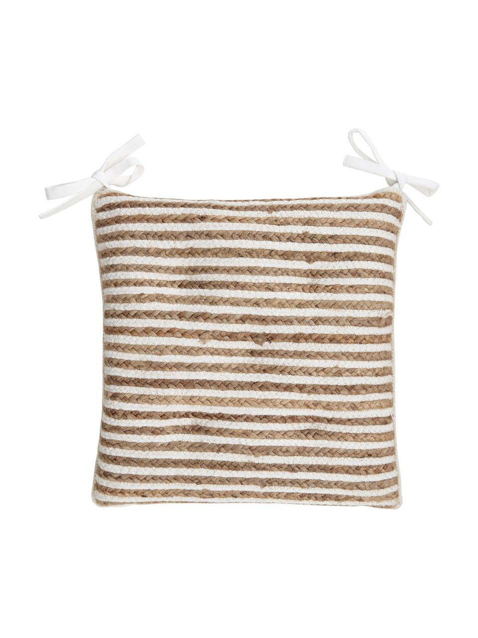 Jute-Sitzkissen Faeka, Vorderseite: Jute, Baumwolle, Rückseite: 100% Baumwolle, Beige,Weiß, 40 x 40 cm