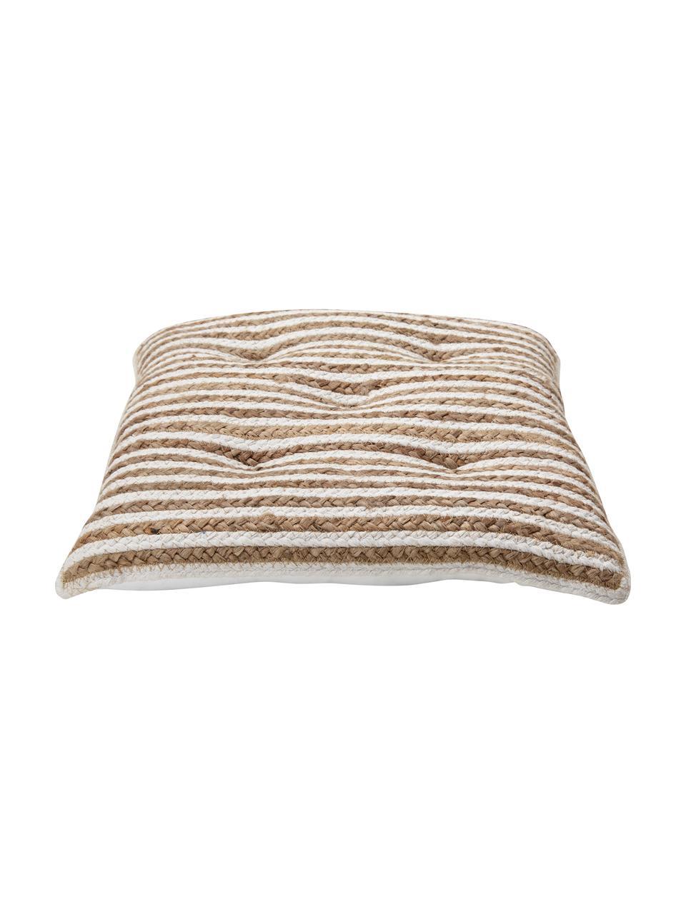 Juten stoelkussen Faeka, Bovenzijde: jute, katoen, Onderzijde: 100% katoen, Beige, wit, 40 x 40 cm