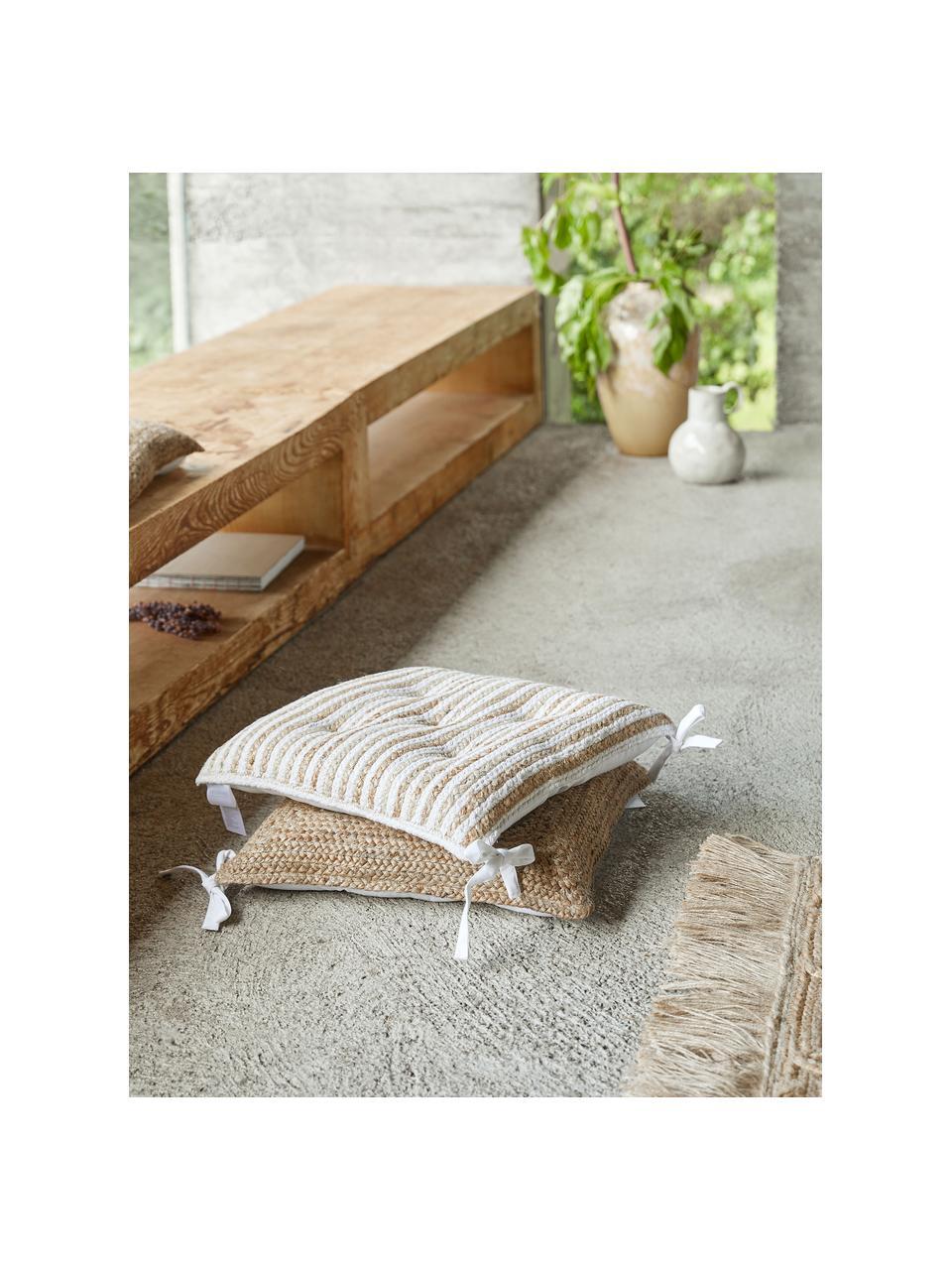 Cuscino sedia in juta Faeka, Retro: 100% cotone, Beige, bianco, Larg. 40 x Lung. 40 cm