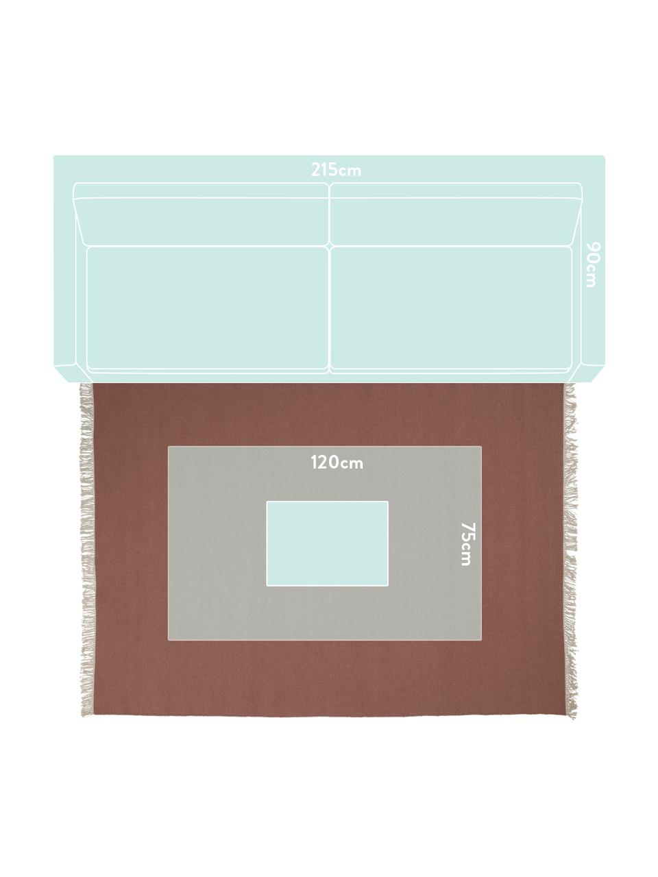 Handgeweven wollen vloerkleed Rainbow in kastanjebruin met franjes, Franjes: 100% katoen, Bruinrood, B 200 x L 300 cm (maat L)