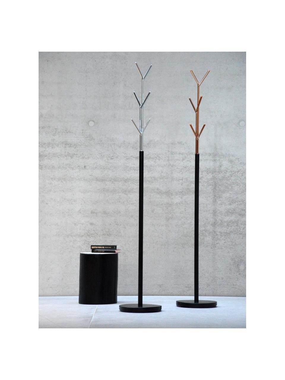 Appendiabiti London, Struttura: tubo di acciaio, vernicia, Nero, cromo, Ø 31 x Alt. 177 cm