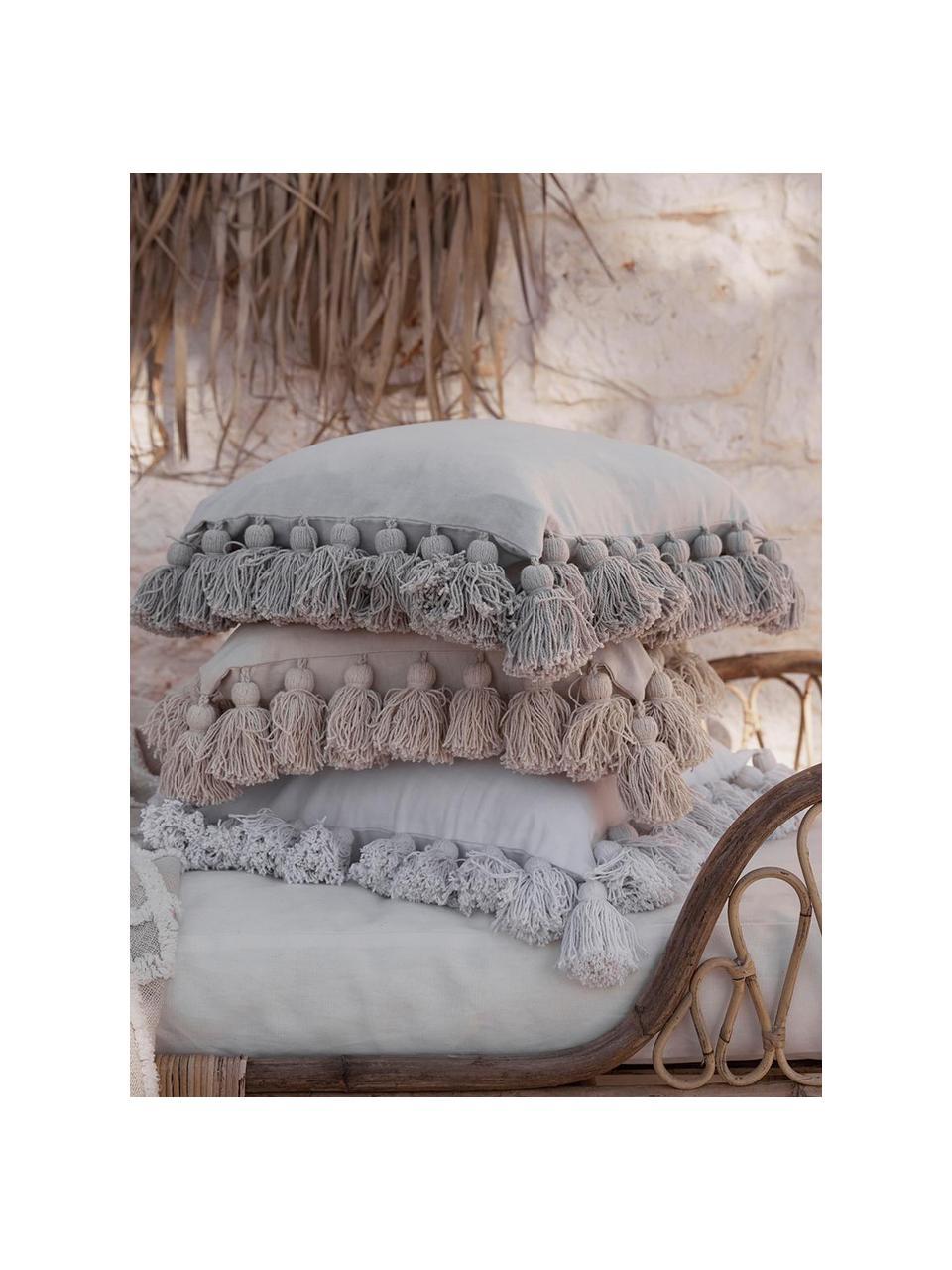 Kissenhülle Shylo in Hellgrau mit Quasten, 100% Baumwolle, Hellgrau, 40 x 40 cm