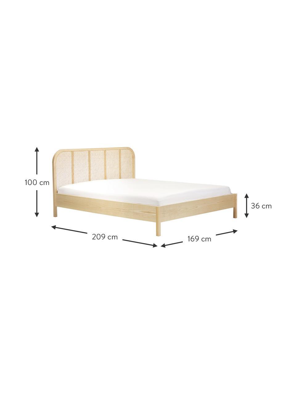 Łóżko z drewna i plecionki wiedeńskiej Jones, Nogi: lite drewno jesionowe, Brązowy, S 160 x D 200 cm