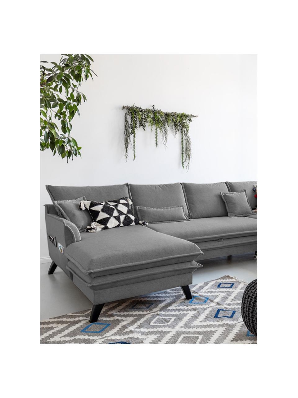 Sofa narożna z funkcją spania i miejscem do przechowywania Charming Charlie, Tapicerka: 100% poliester, w dotyku , Stelaż: drewno naturalne, płyta w, Szary, S 302 x G 200 cm