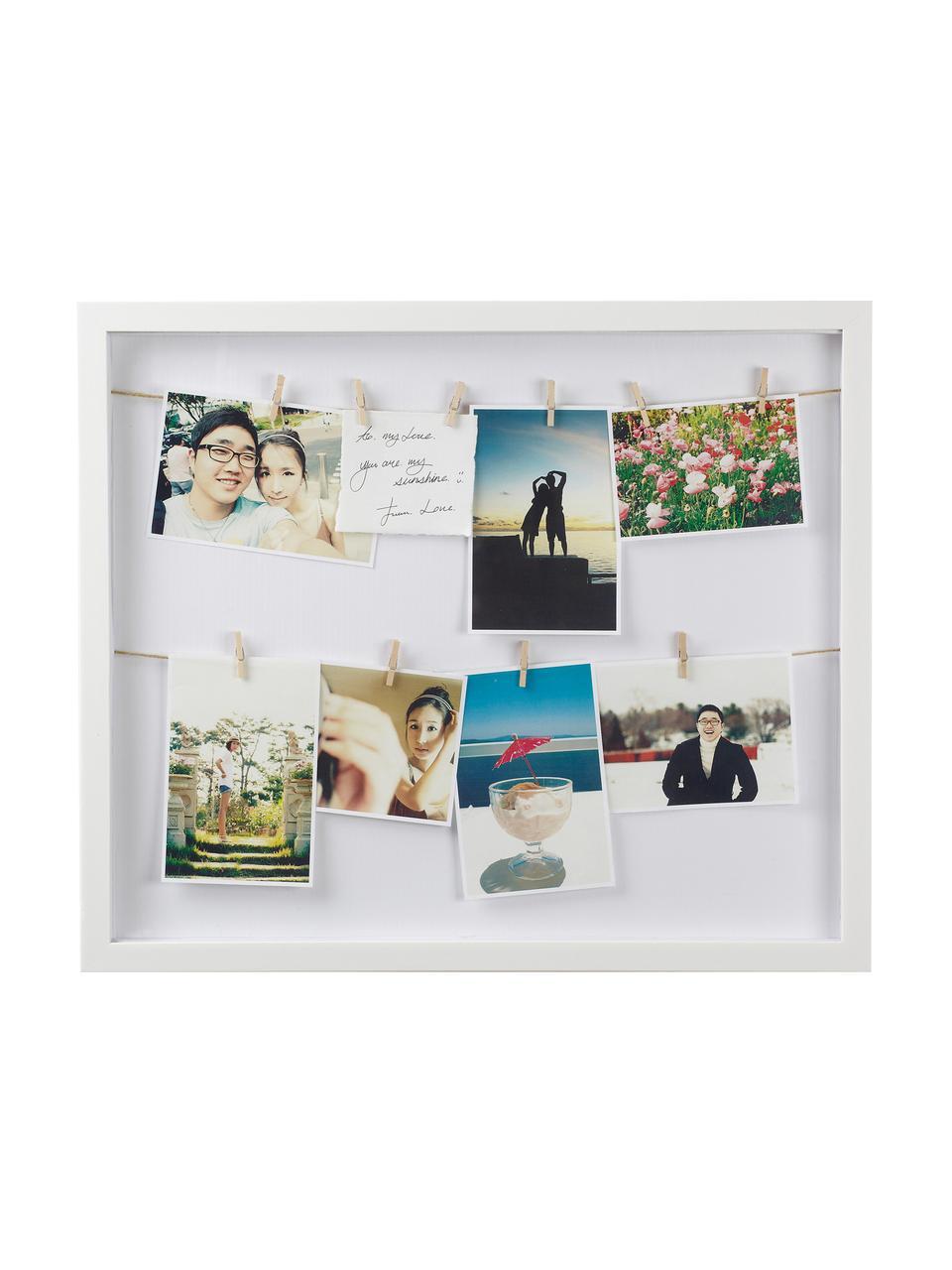 Portafoto con mollette Clothesline, Retro: pannelli di fibre a media, Bianco, Larg. 52 x Alt. 45 cm