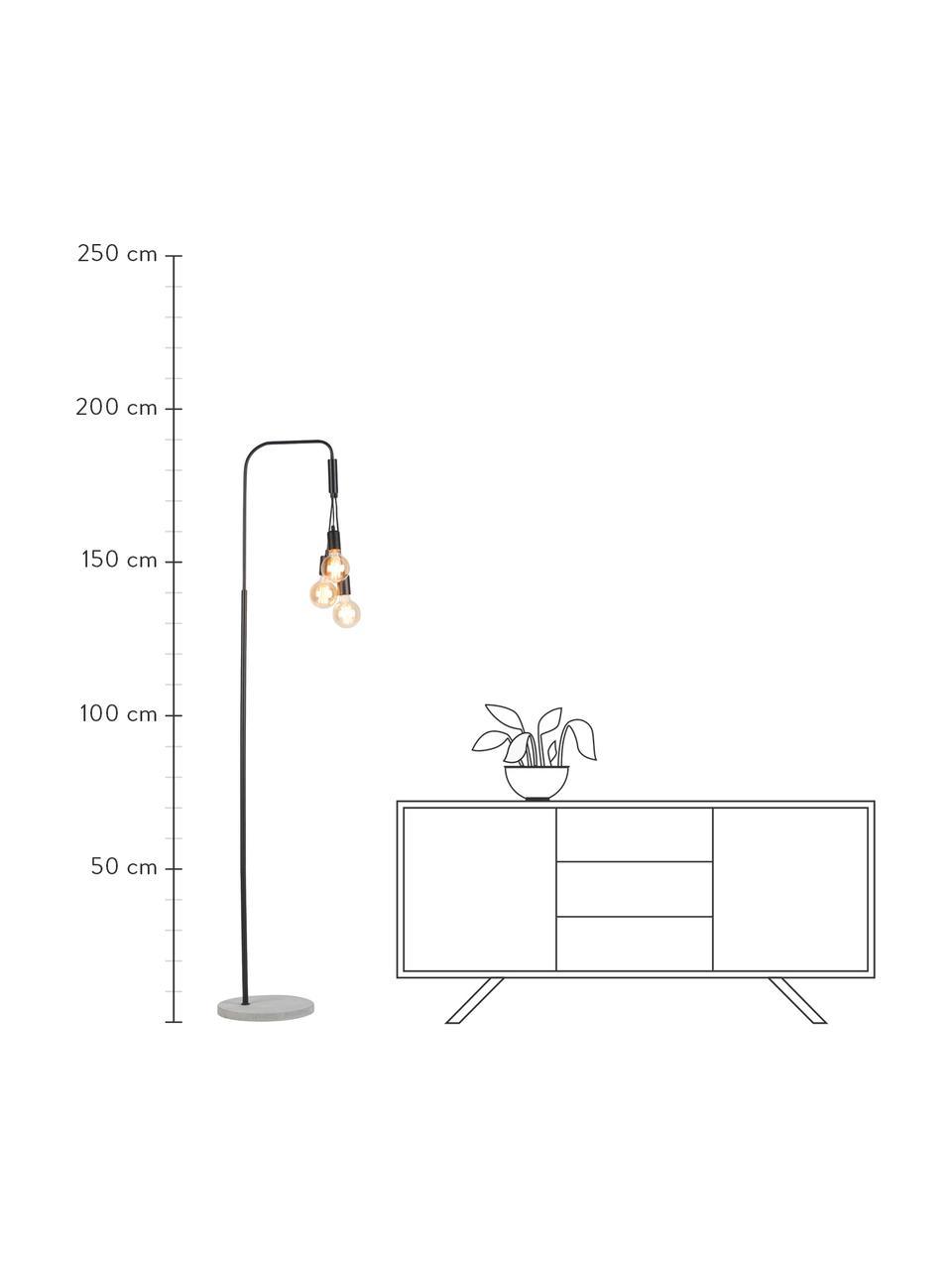 Lampada da terra con base in cemento Oslo, Base della lampada: cemento, Nero, Larg. 48 x Alt. 190 cm