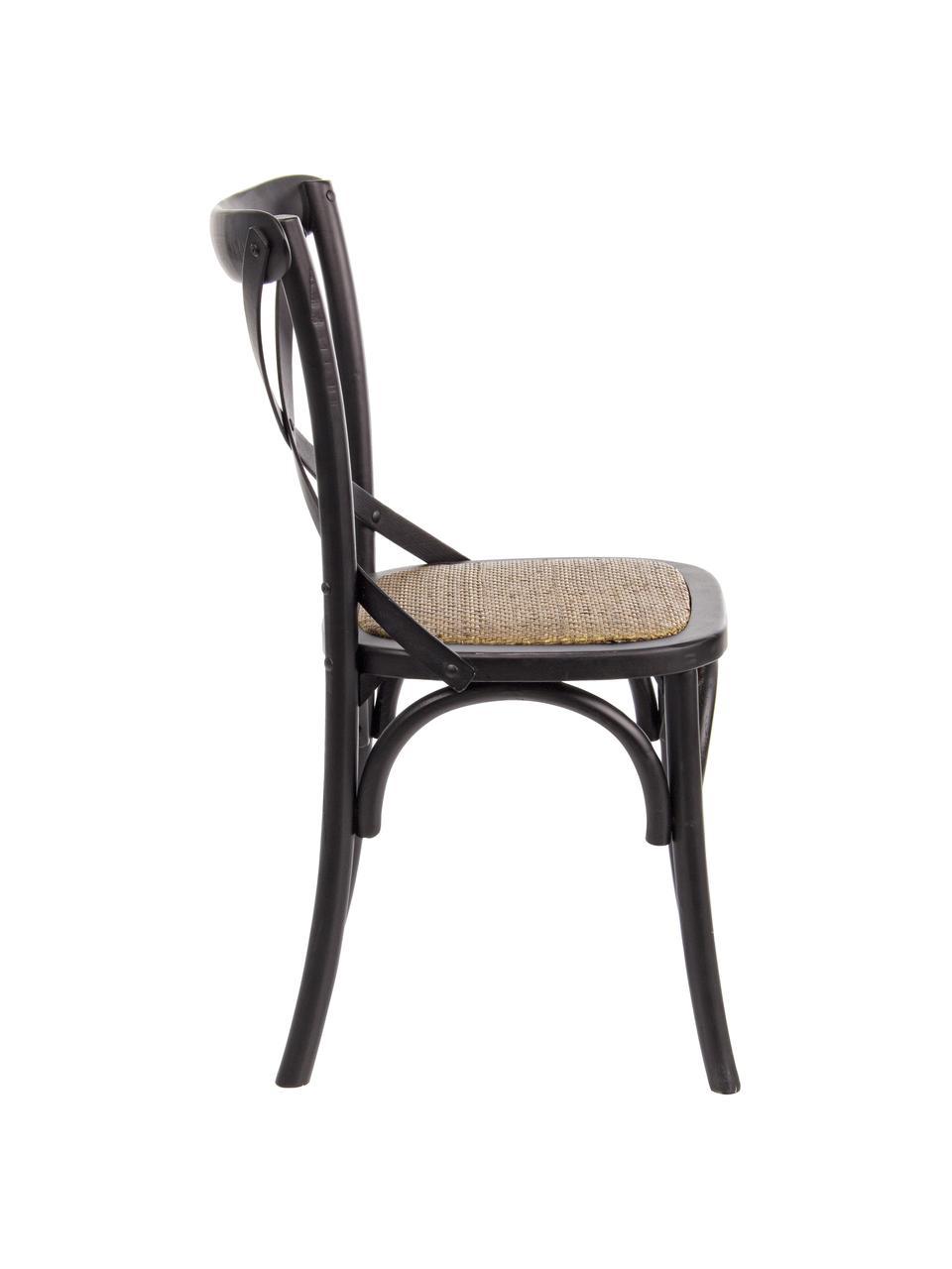 Krzesło Cross, Stelaż: drewno wiązowe, lakierowa, Stelaż: czarny Siedzisko: rattan, 42 x 46 cm