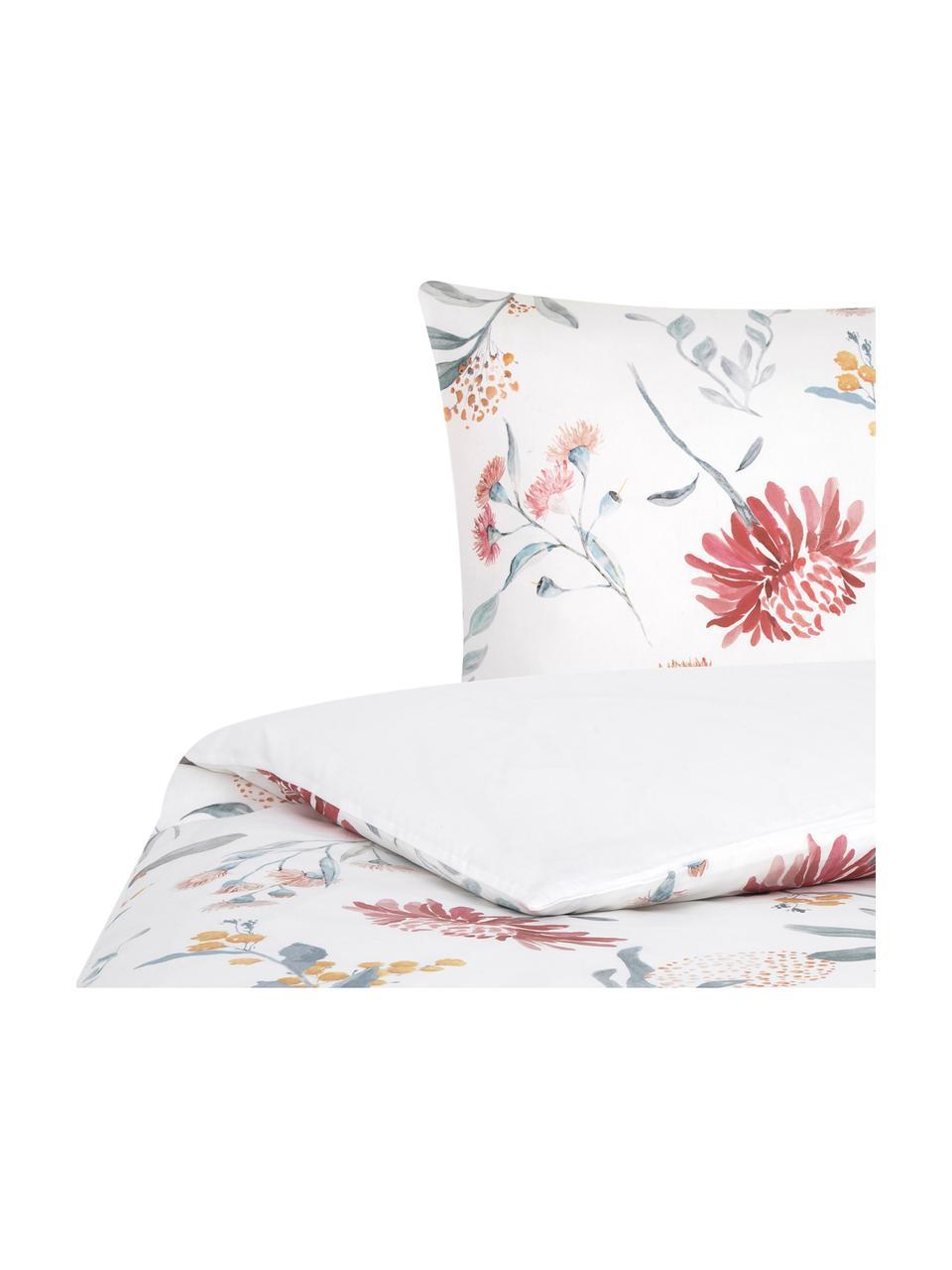 Parure copripiumino reversibile in raso di cotone Evie, Stampa floreale, bianco, 155 x 200 cm + 1 federa 50 x 80 cm
