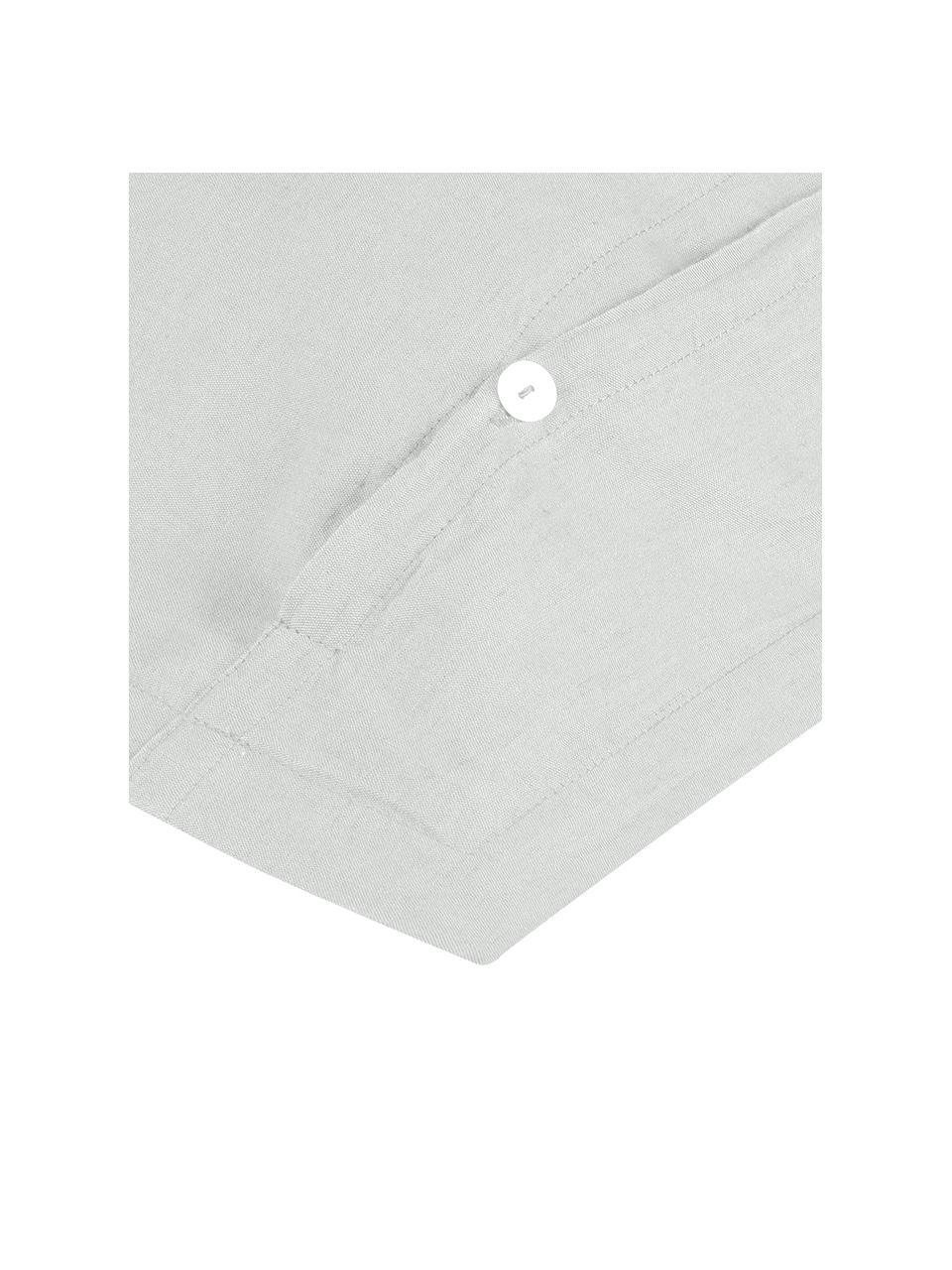 Gewaschene Leinen-Kissenbezüge Nature in Hellgrau, 2 Stück, Halbleinen (52% Leinen, 48% Baumwolle)  Fadendichte 108 TC, Standard Qualität  Halbleinen hat von Natur aus einen kernigen Griff und einen natürlichen Knitterlook, der durch den Stonewash-Effekt verstärkt wird. Es absorbiert bis zu 35% Luftfeuchtigkeit, trocknet sehr schnell und wirkt in Sommernächten angenehm kühlend. Die hohe Reißfestigkeit macht Halbleinen scheuerfest und strapazierfähig., Hellgrau, 40 x 80 cm